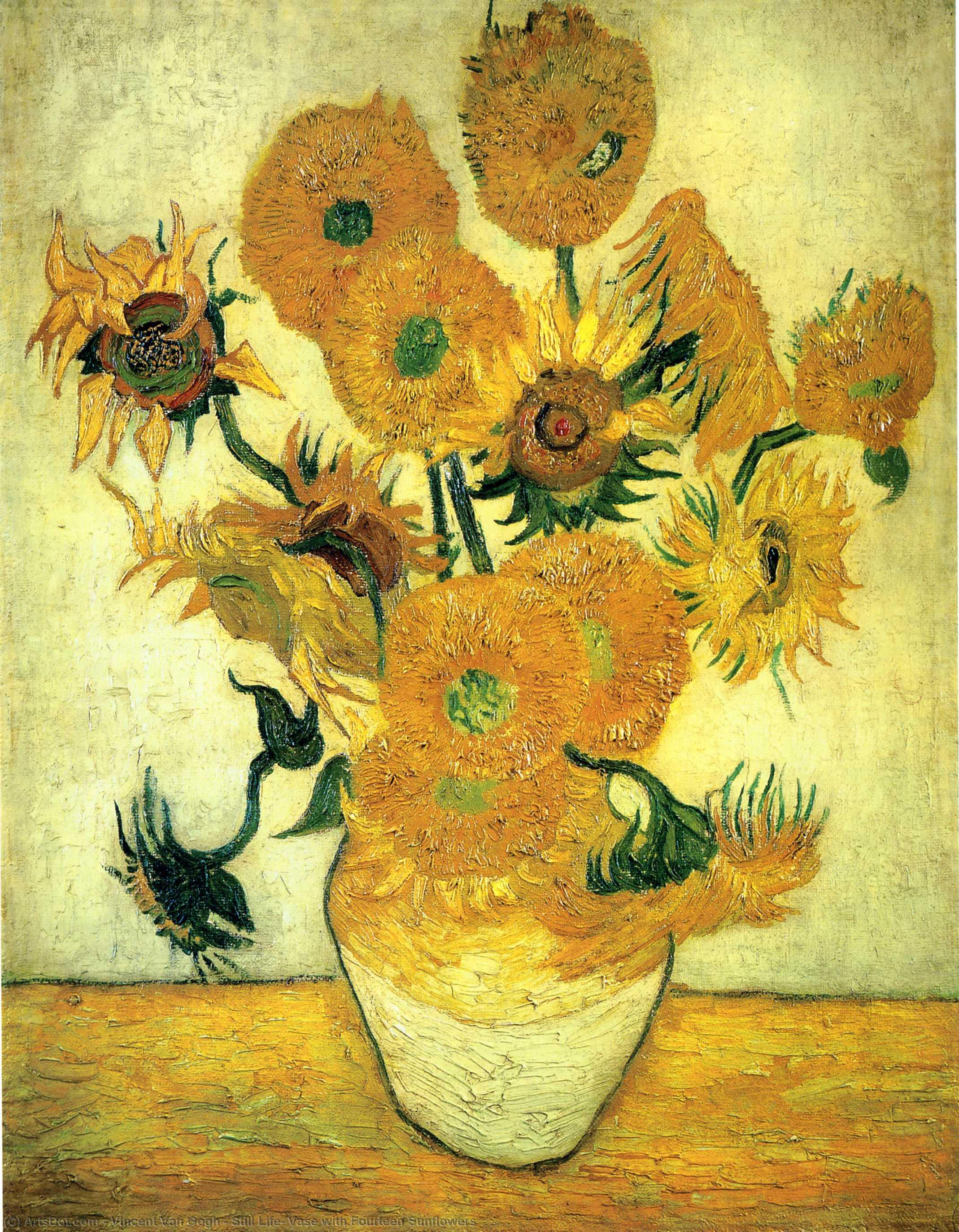 Still Life: Vase with Fourteen Sunflowers, 1889 by Vincent Van Gogh (1853-1890, Netherlands) | Museum Art Reproductions Vincent Van Gogh | ArtsDot.com