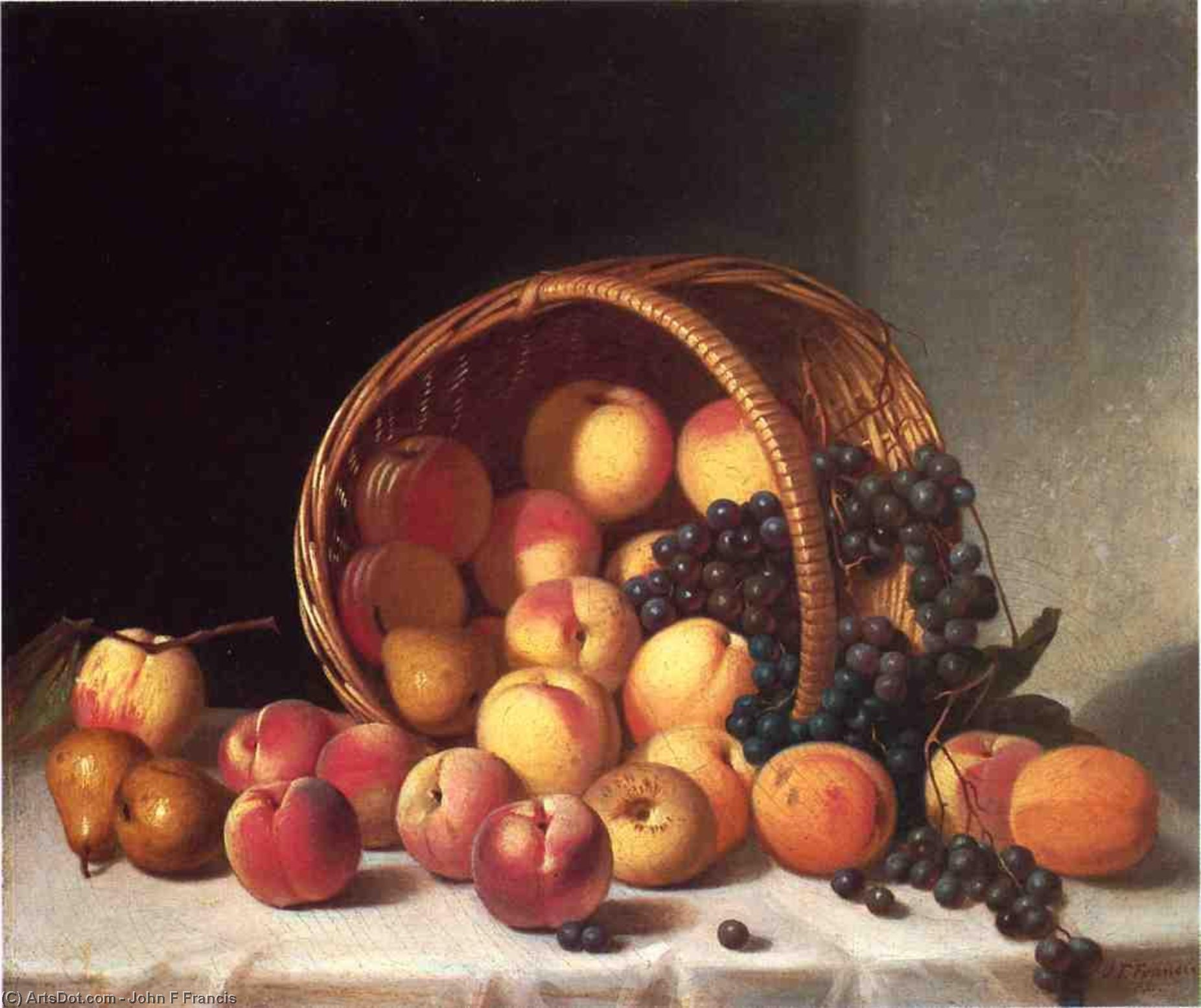 Still Life with a Basket of Fruit, Oil On Canvas by John F Francis (1905-1990, United States)
