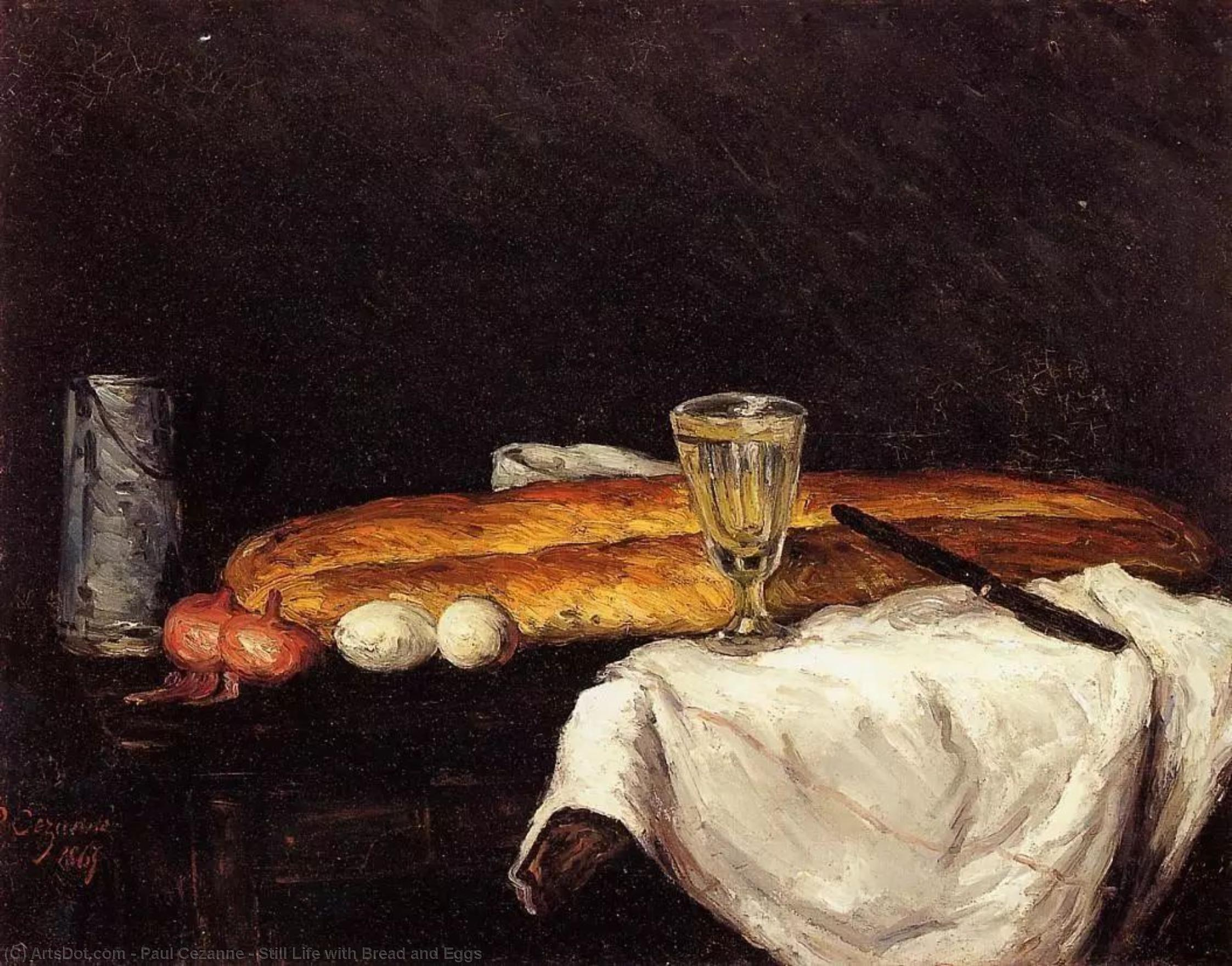 Order Paintings Reproductions | Still Life with Bread and Eggs, 1865 by Paul Cezanne (1839-1906, France) | ArtsDot.com
