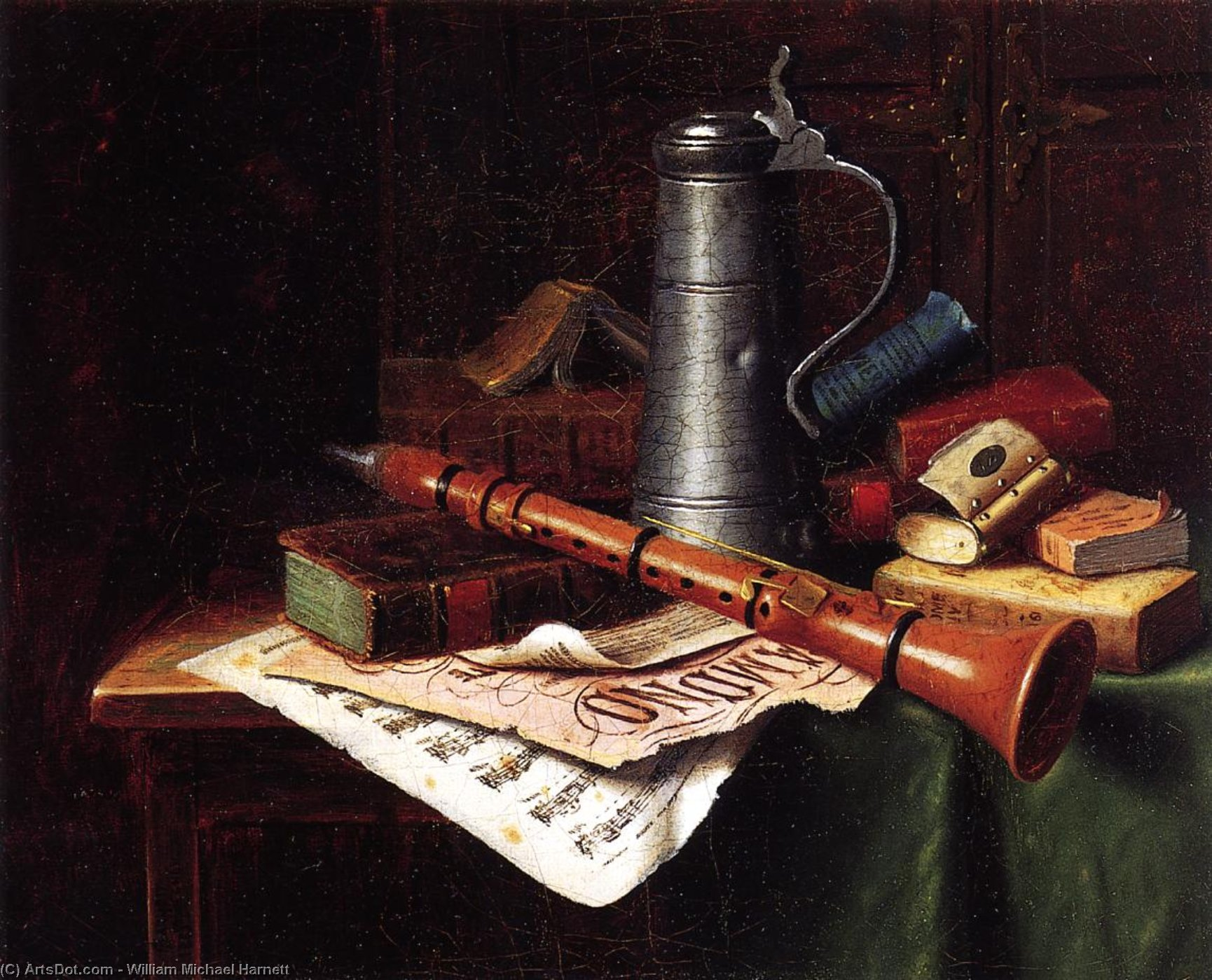 Still Life with Clarinet, Oil On Canvas by William Michael Harnett (1848-1892, Ireland)