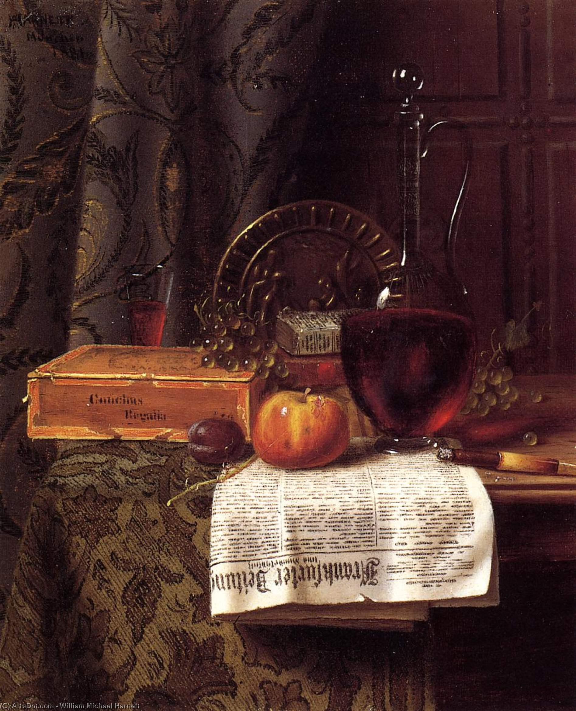 Still Life with Decanter and Frankfurter Zeitung, Oil On Canvas by William Michael Harnett (1848-1892, Ireland)