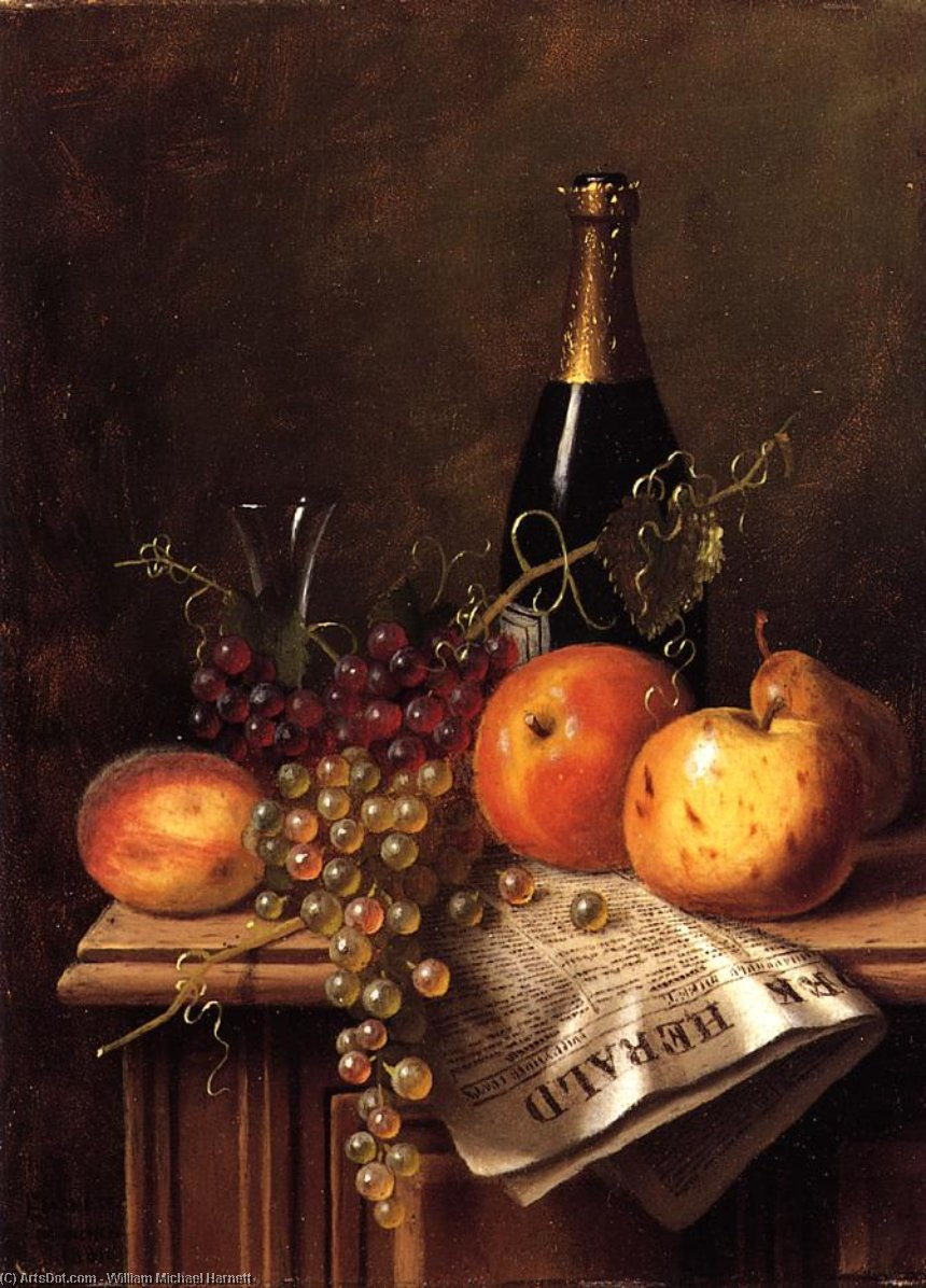 Still Life with Fruit, Champagne Bottle and Newspaper, Oil On Panel by William Michael Harnett (1848-1892, Ireland)