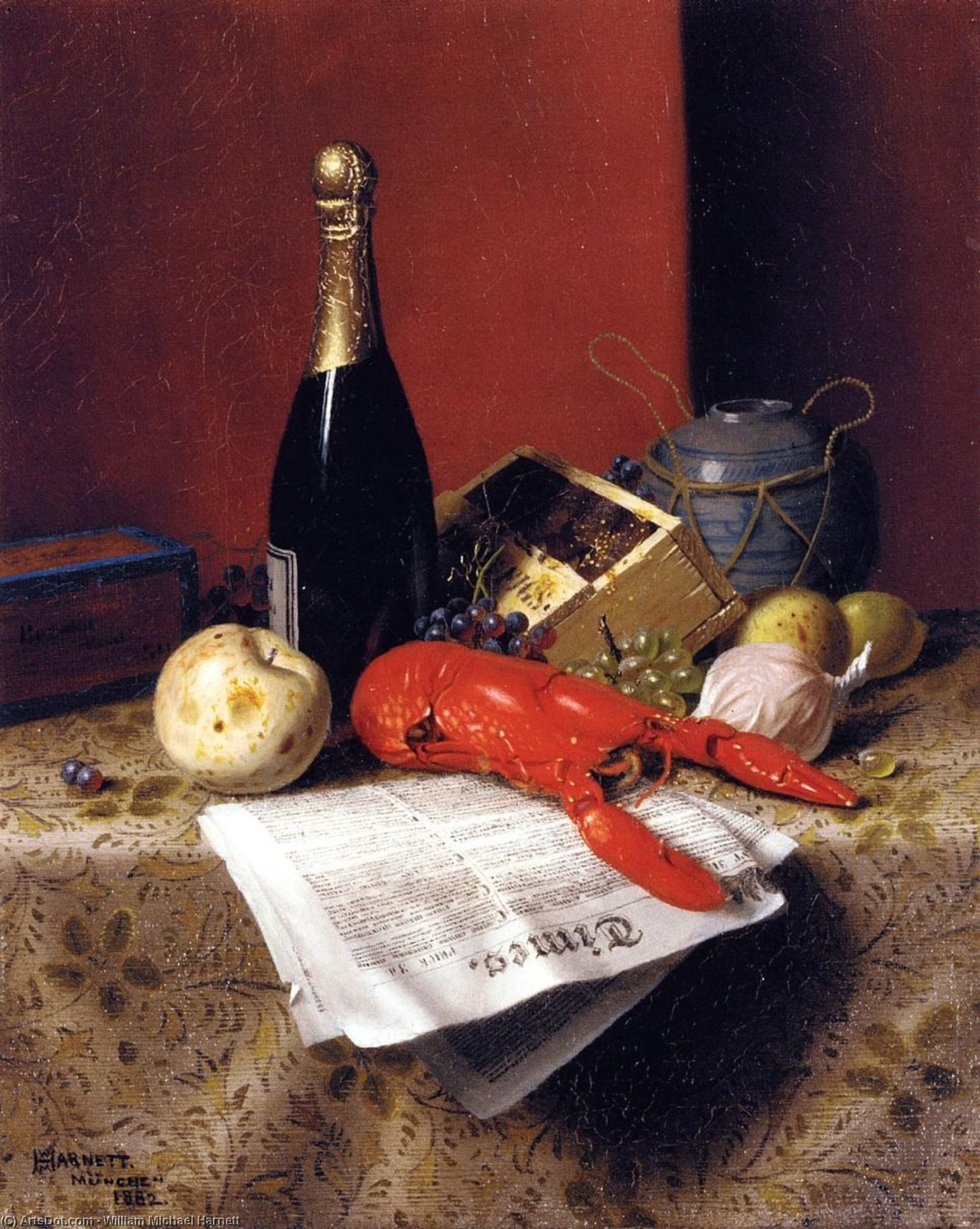 Still Life with Lobster, Fruit, Champagne and Newspaper, Oil On Canvas by William Michael Harnett (1848-1892, Ireland)