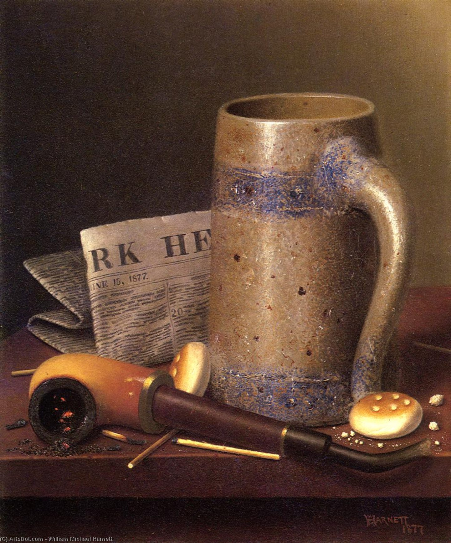 Still Life with Mug, Pipe and New York Herald, Oil On Canvas by William Michael Harnett (1848-1892, Ireland)
