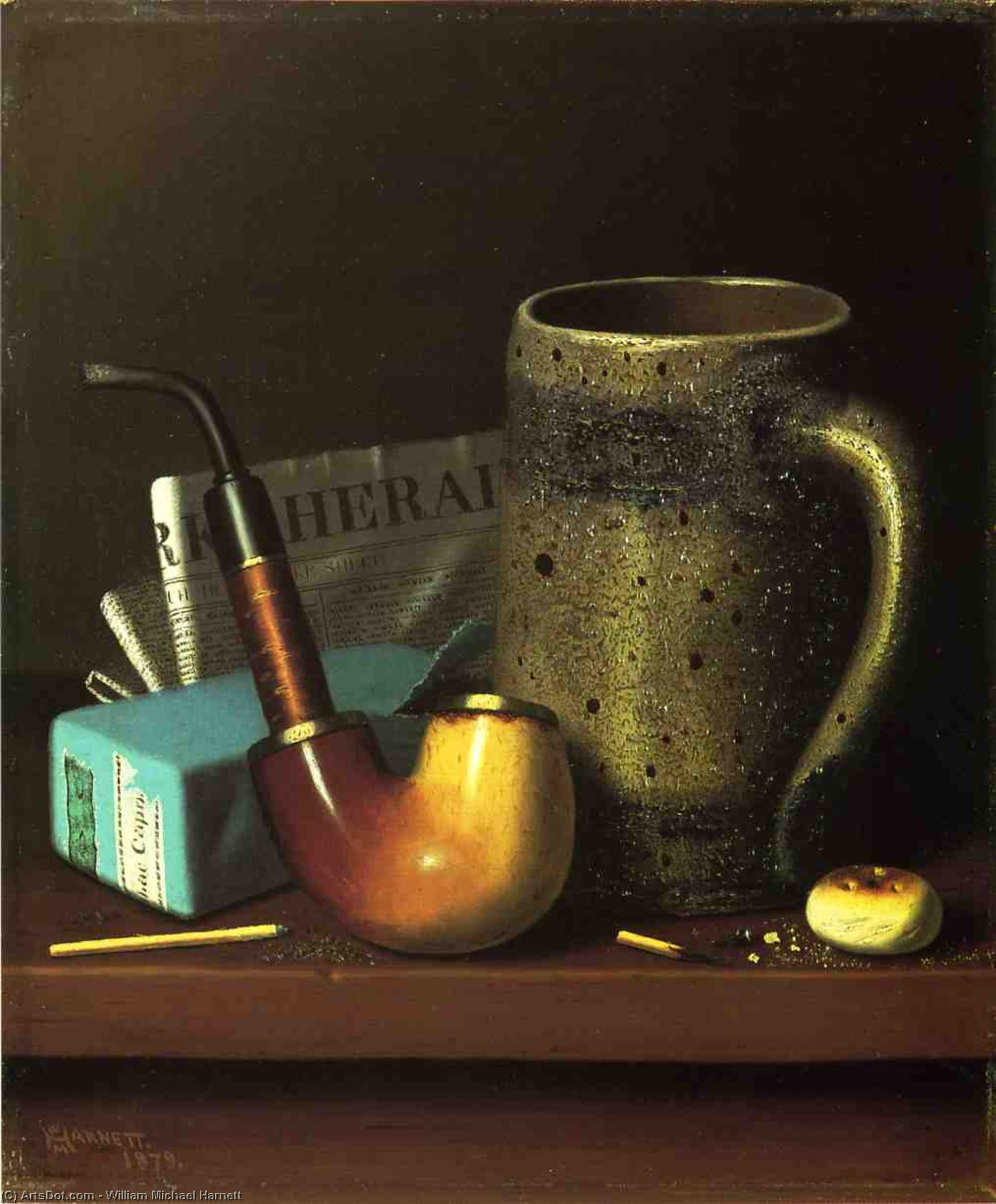 Still Life with Pipe, Mug and Newspaper, Oil On Canvas by William Michael Harnett (1848-1892, Ireland)