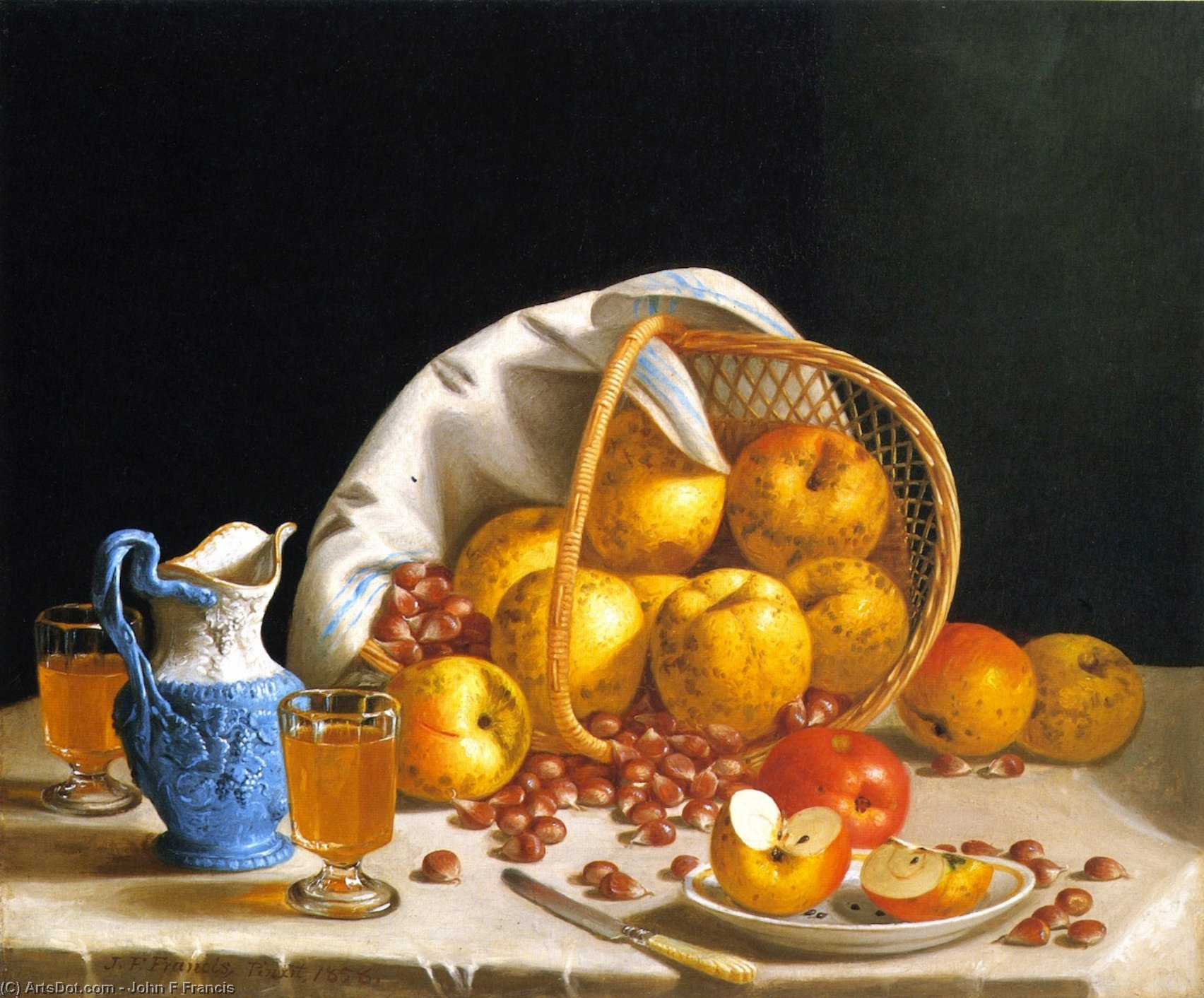 Still LIfe with Yellow Apples, 1858 by John F Francis (1905-1990, United States) | ArtsDot.com
