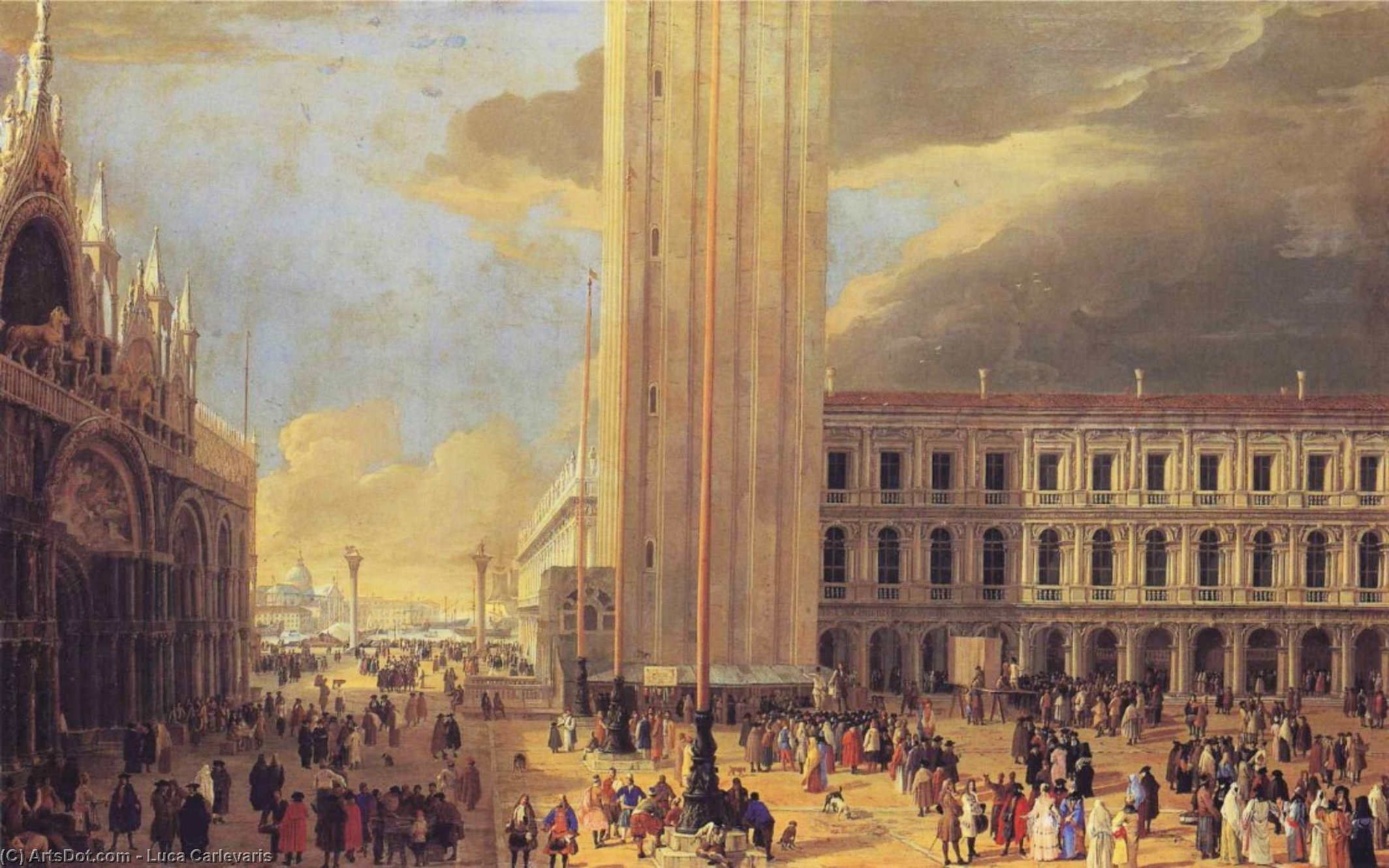 St. Mark's Square with Charlatans, Oil On Canvas by Luca Carlevaris (1663-1730, Italy)
