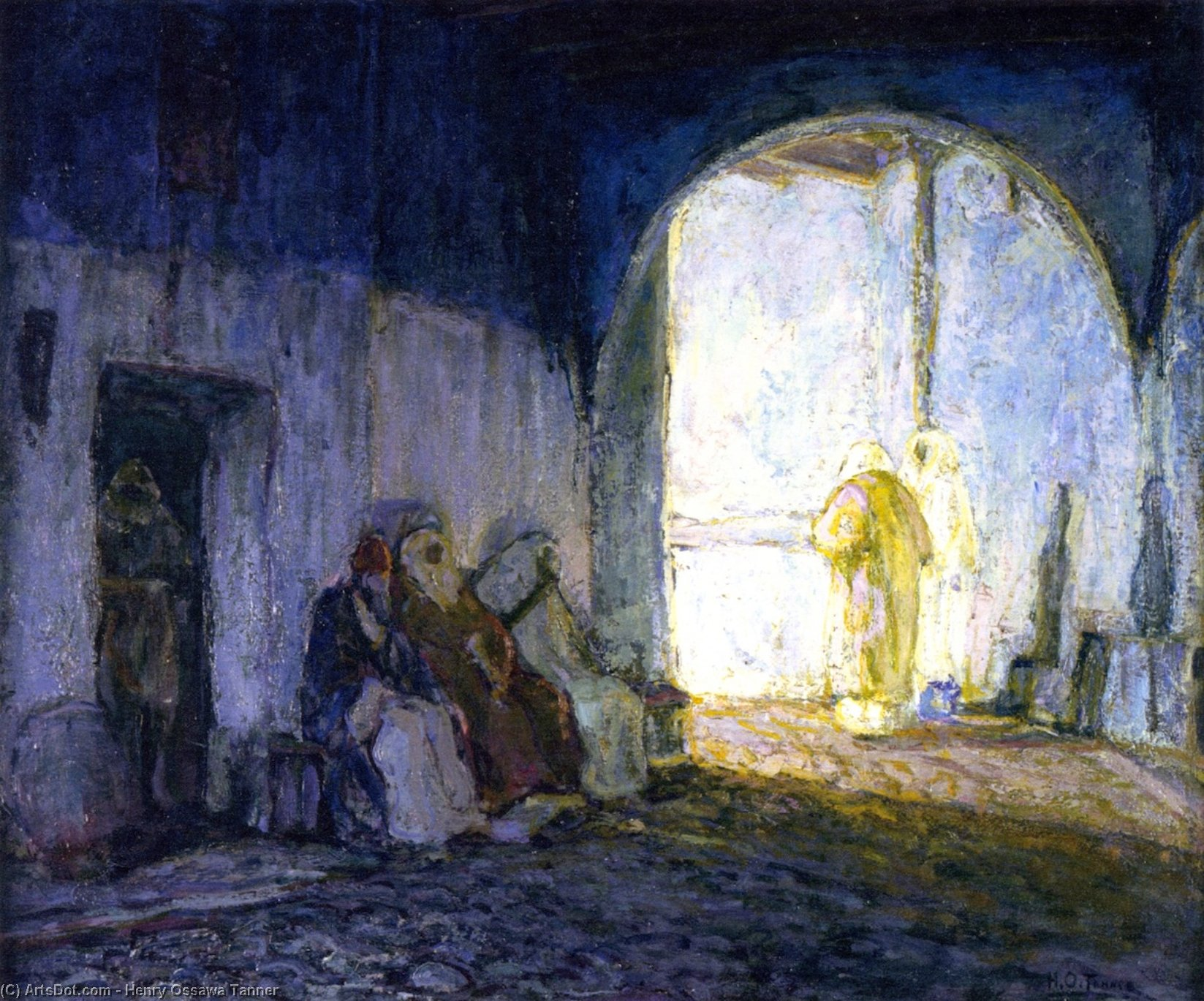 Street Scene, Tangiers, Oil On Panel by Henry Ossawa Tanner (1859-1937, United States)