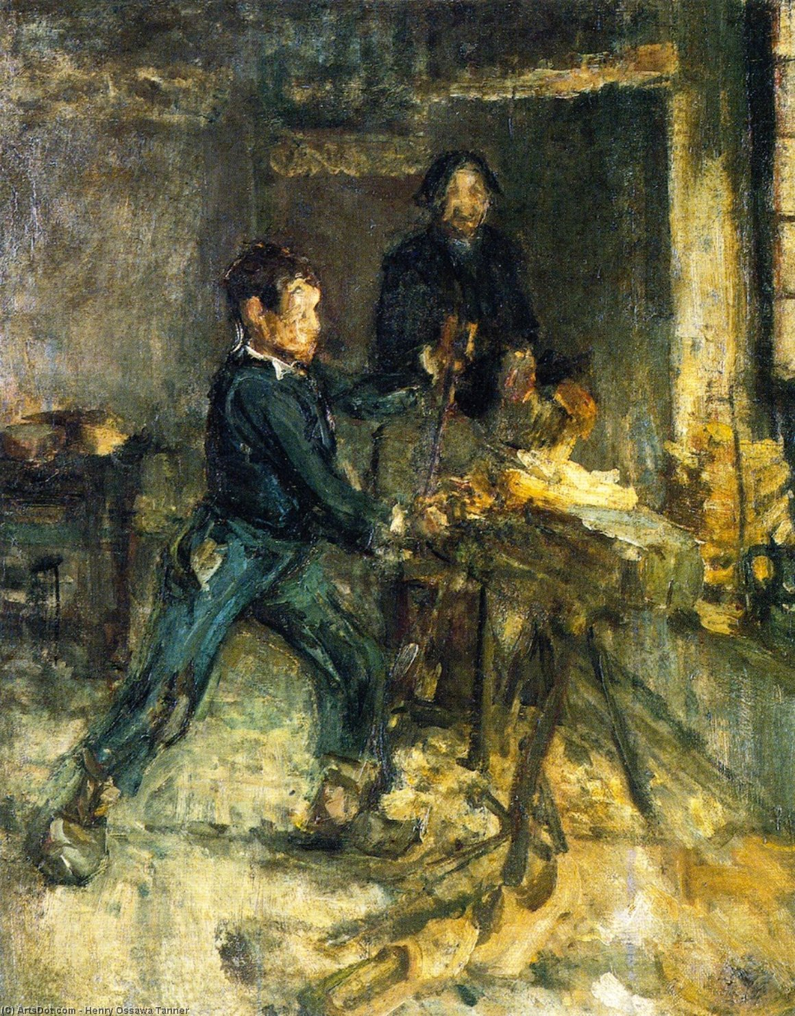 Study for The Young Sabot Maker, 1894 by Henry Ossawa Tanner (1859-1937, United States) | Oil Painting | ArtsDot.com