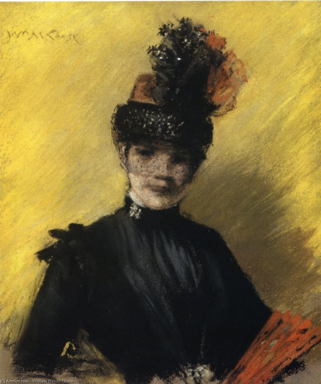 Study of Black against Yellow (also known as Portrait of Mrs. Chase), Drawing by William Merritt Chase (1849-1916, United States)