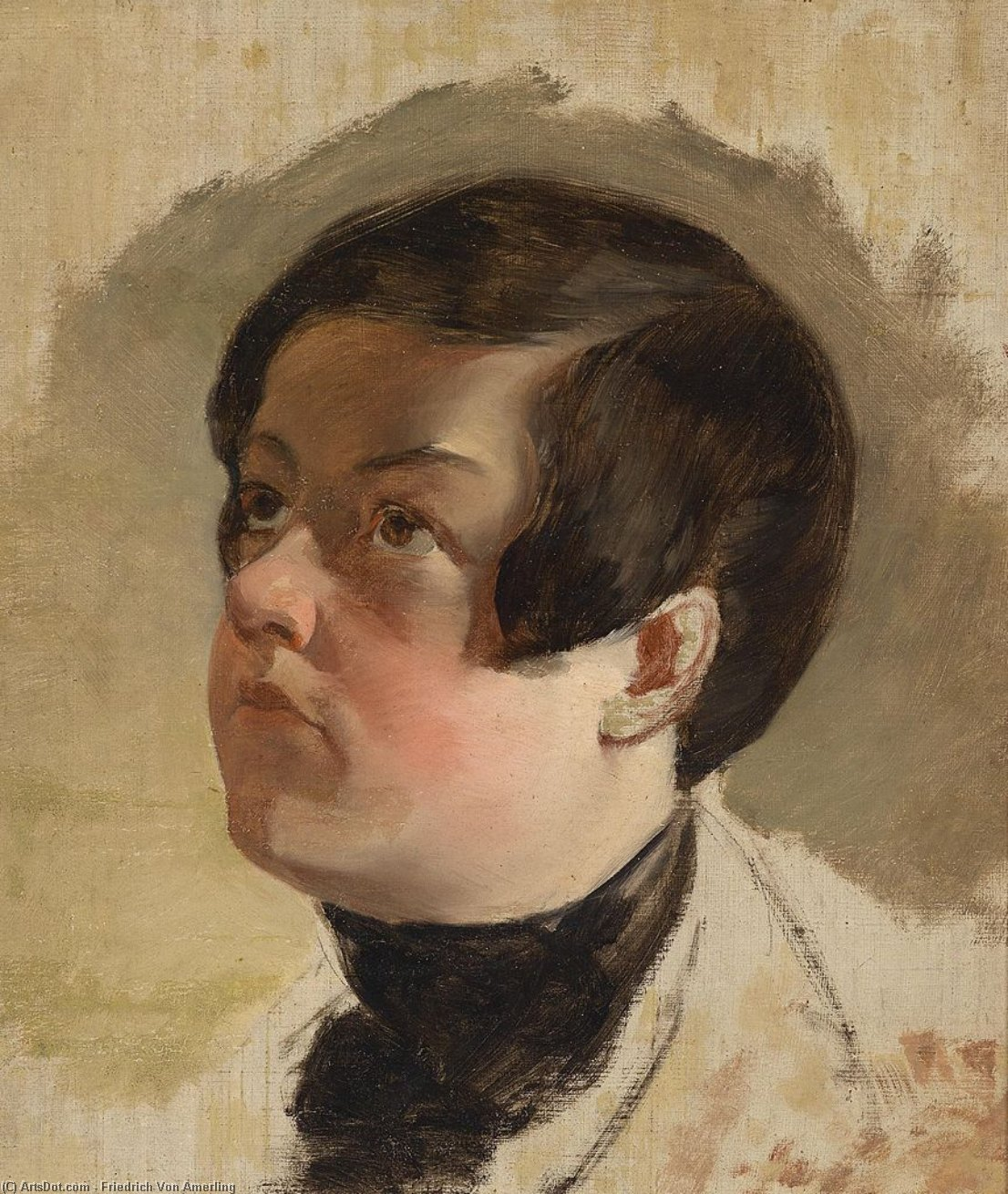 Study of a boy's head by Friedrich Ritter Von Amerling (1803-1887) | ArtsDot.com