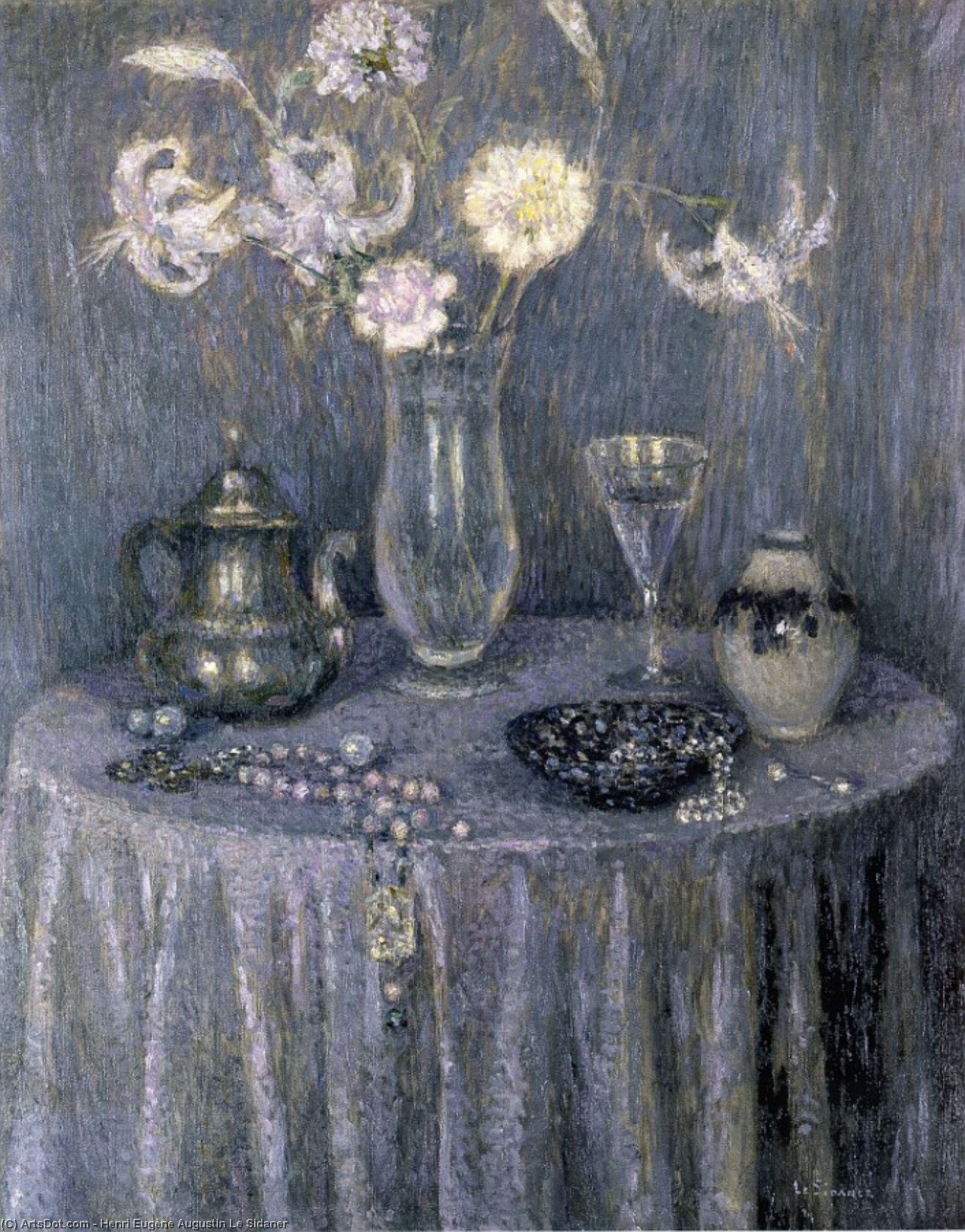 The Table, Grey Harmony, Oil On Panel by Henri Eugène Augustin Le Sidaner (1862-1939, Mauritius)
