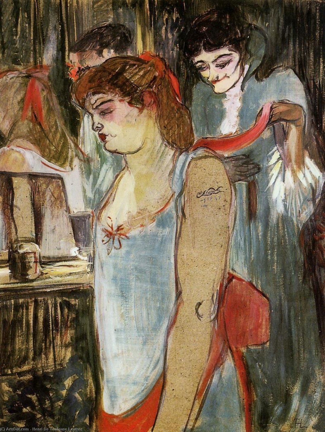 The Tatooed Woman, Oil by Henri De Toulouse Lautrec (1864-1901, France)
