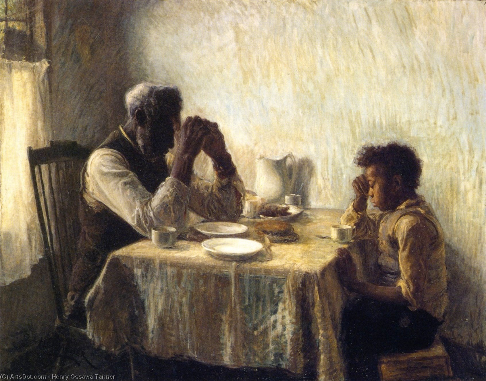 The Thankful Poor, Oil On Canvas by Henry Ossawa Tanner (1859-1937, United States)