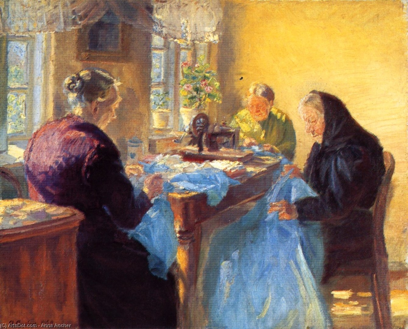 Three Old Seamstresses (also known as Sewing a Blue Gown for a Costume Ball), 1920 by Anna Kirstine Ancher (1859-1935, Denmark) | Art Reproduction | ArtsDot.com