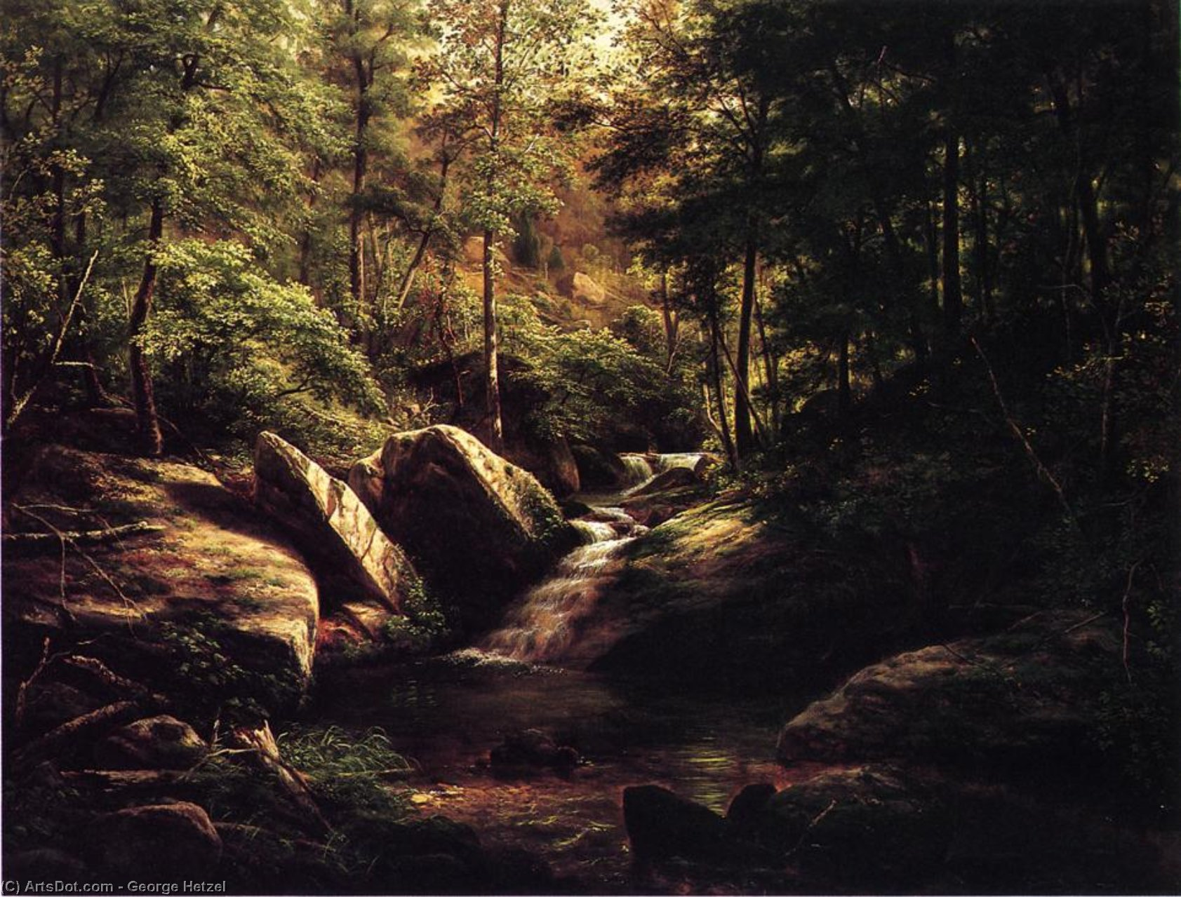 Trout Stream in the Alleghenies, 1863 by George Hetzel (1826-1899, France) | Painting Copy | ArtsDot.com