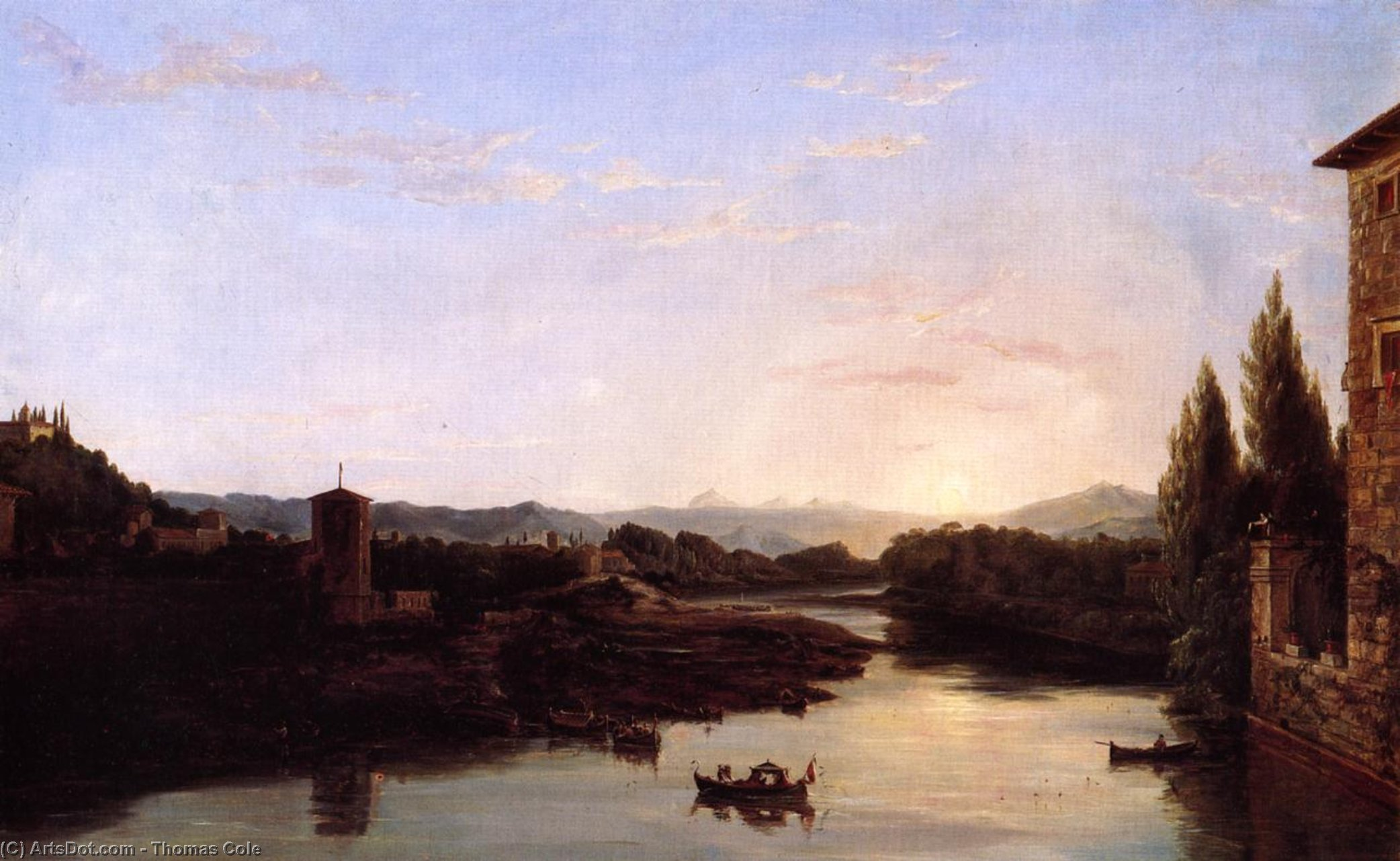 View of the Arno, Oil On Canvas by Thomas Cole (1801-1848, United Kingdom)
