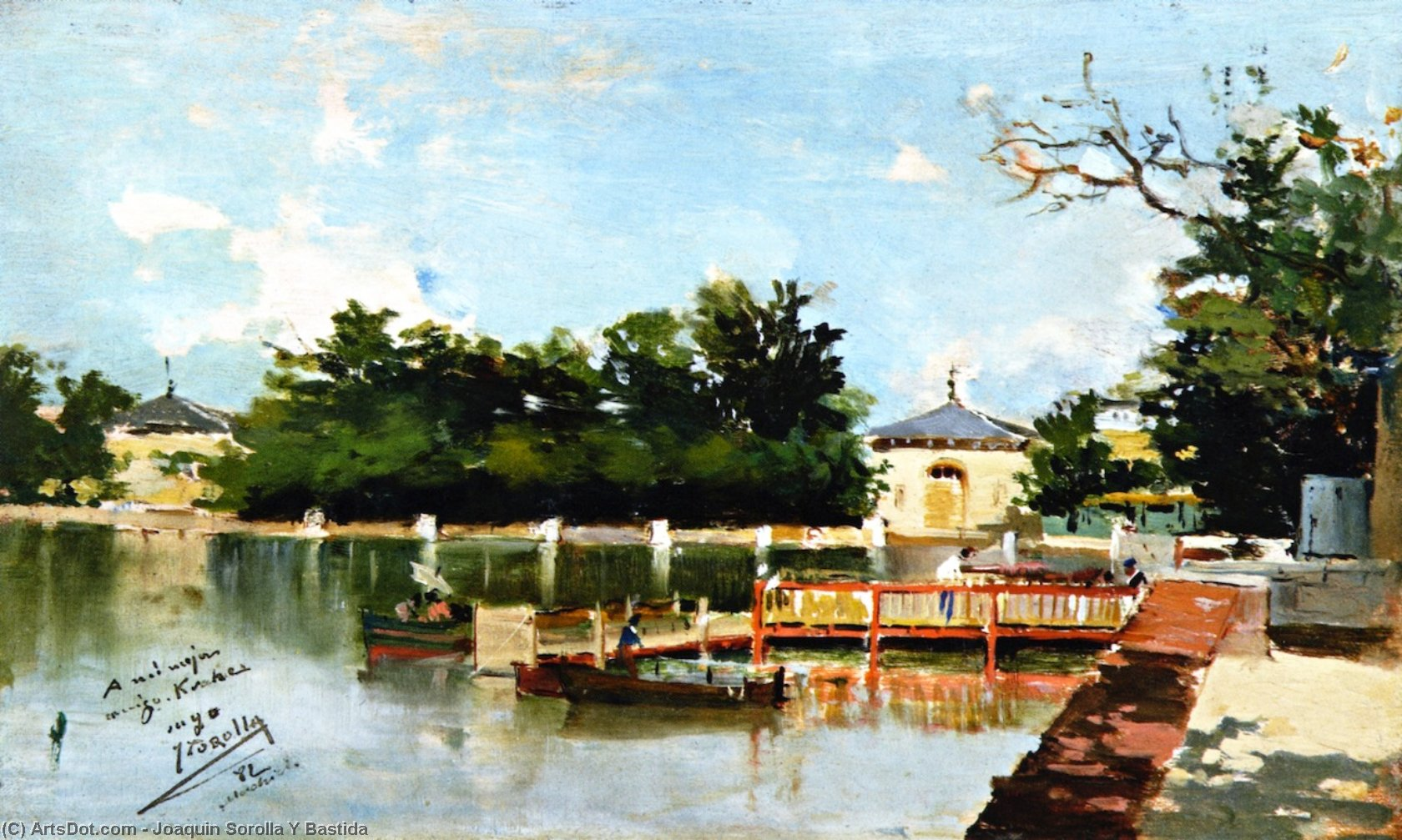 View of the Jetty in the Retiro Gardens, Madrid, Oil On Panel by Joaquin Sorolla Y Bastida  (buy Fine Art Framed Print Joaquin Sorolla Y Bastida)