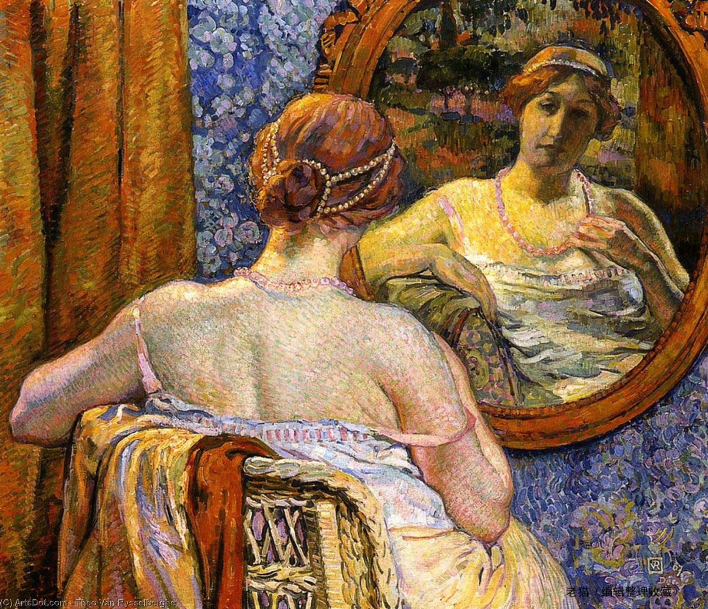 Woman at a Mirror, Oil On Canvas by Theo Van Rysselberghe (1862-1926, Belgium)