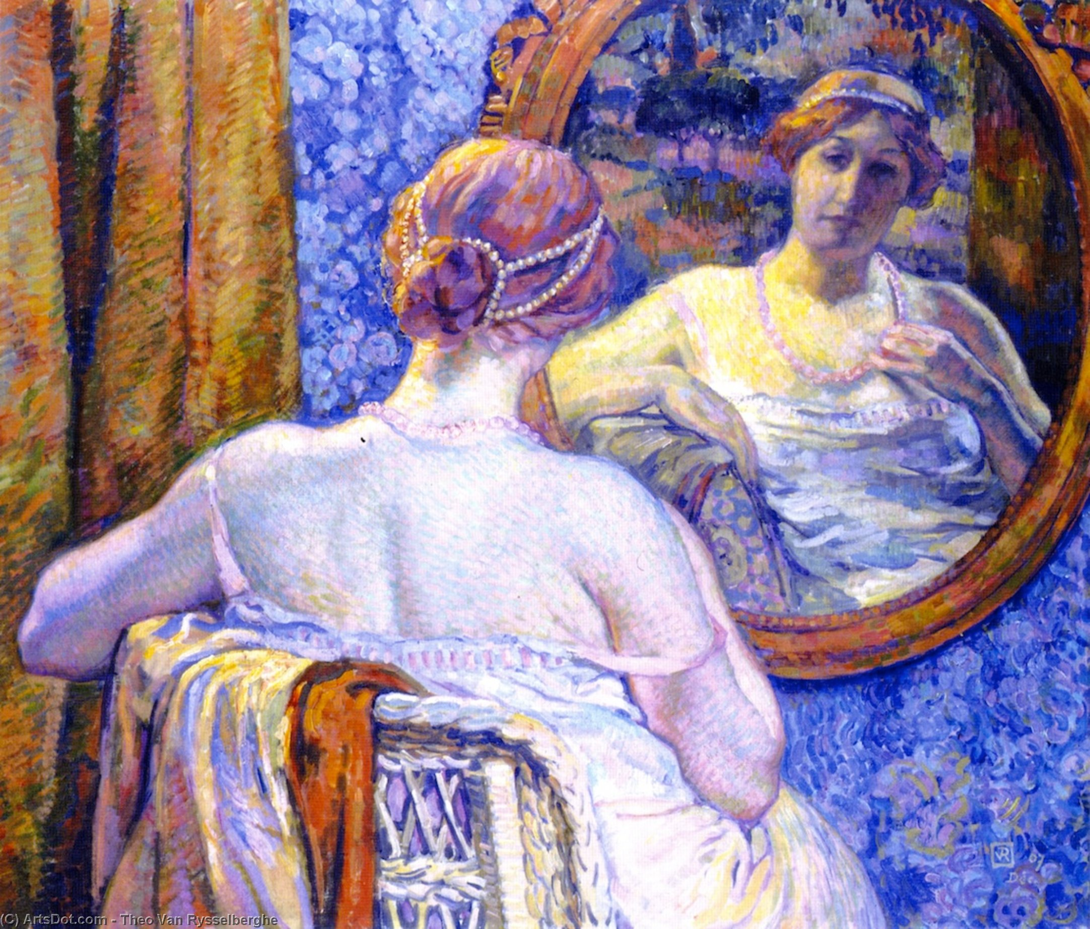 Woman with Red Necklace (also known as La femme au collier rose), 1907 by Theo Van Rysselberghe (1862-1926, Belgium) | ArtsDot.com