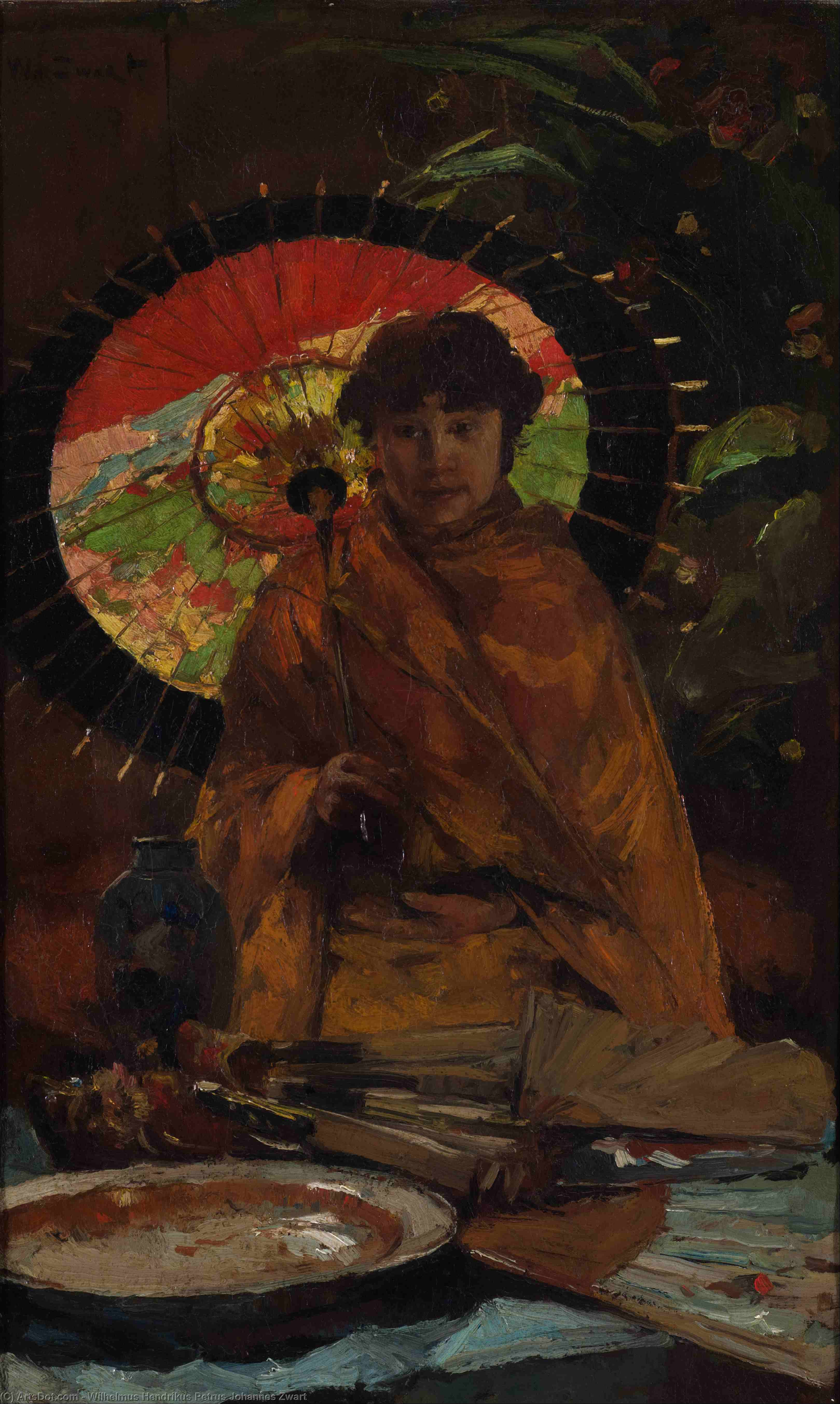 Order Art Reproduction : Girl With Japanese Parasol by Wilhelmus Hendrikus Petrus Johannes Zwart (1862-1931, Netherlands) | ArtsDot.com