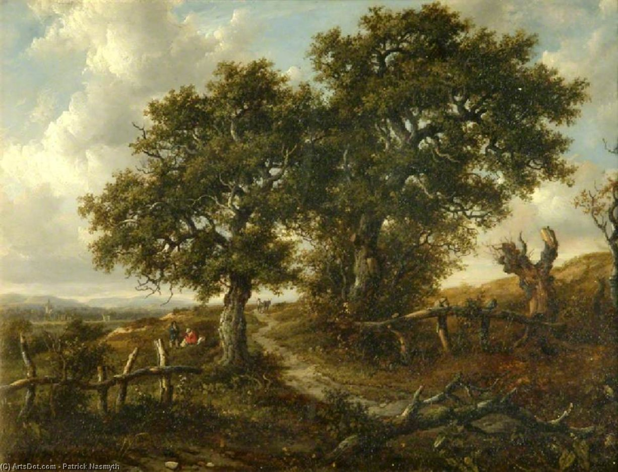 Landscape With Trees And Figures In The Foreground, A Church In The Distance by Patrick Nasmyth (1787-1831, United Kingdom)