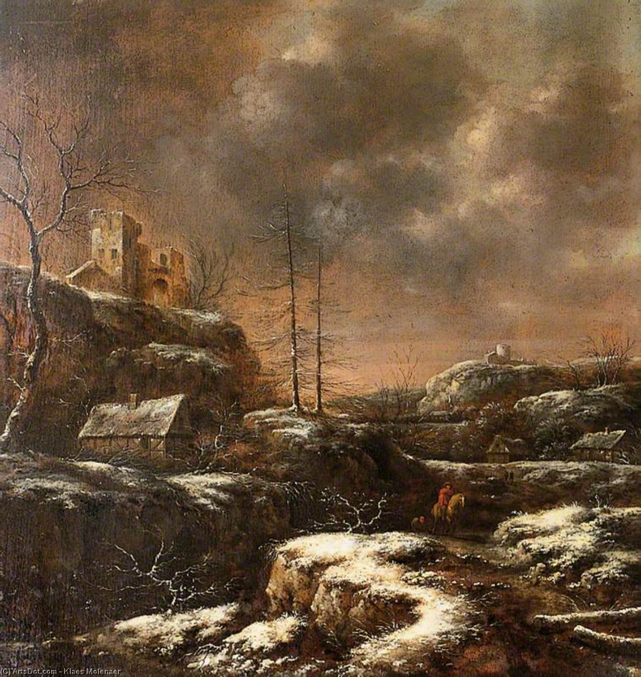 Winter Scene by Klaes Molenaer (1629-1676, Netherlands)