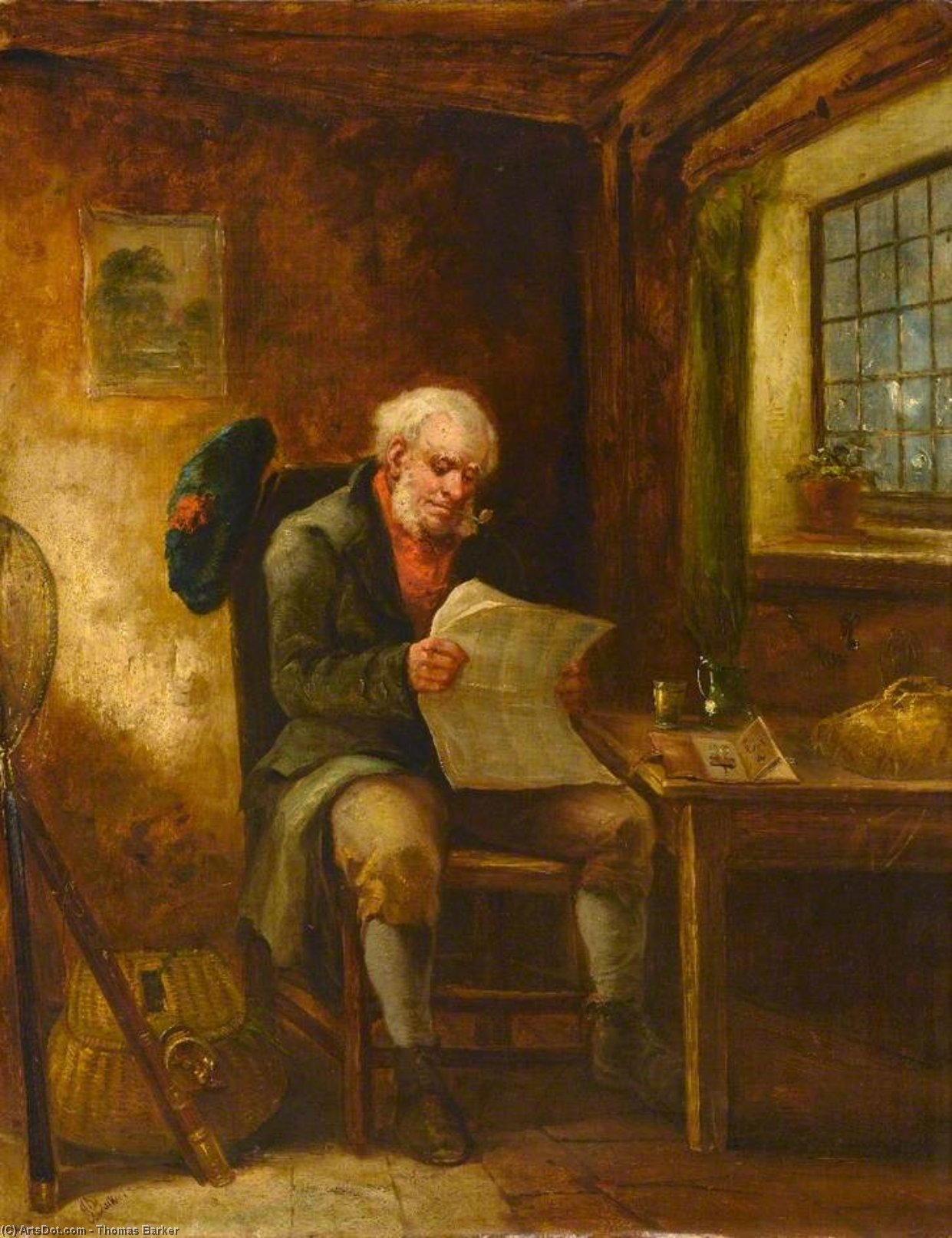 Scotsman In A Cottage Interior by Thomas Barker (1769-1847, United Kingdom)
