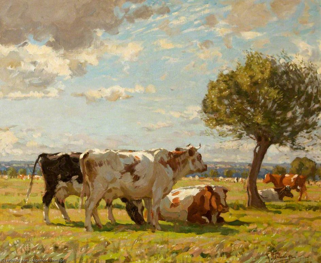 Afternoon In The Norfolk Meadows by Algernon Talmage (1871-1939, United Kingdom) | Oil Painting | ArtsDot.com
