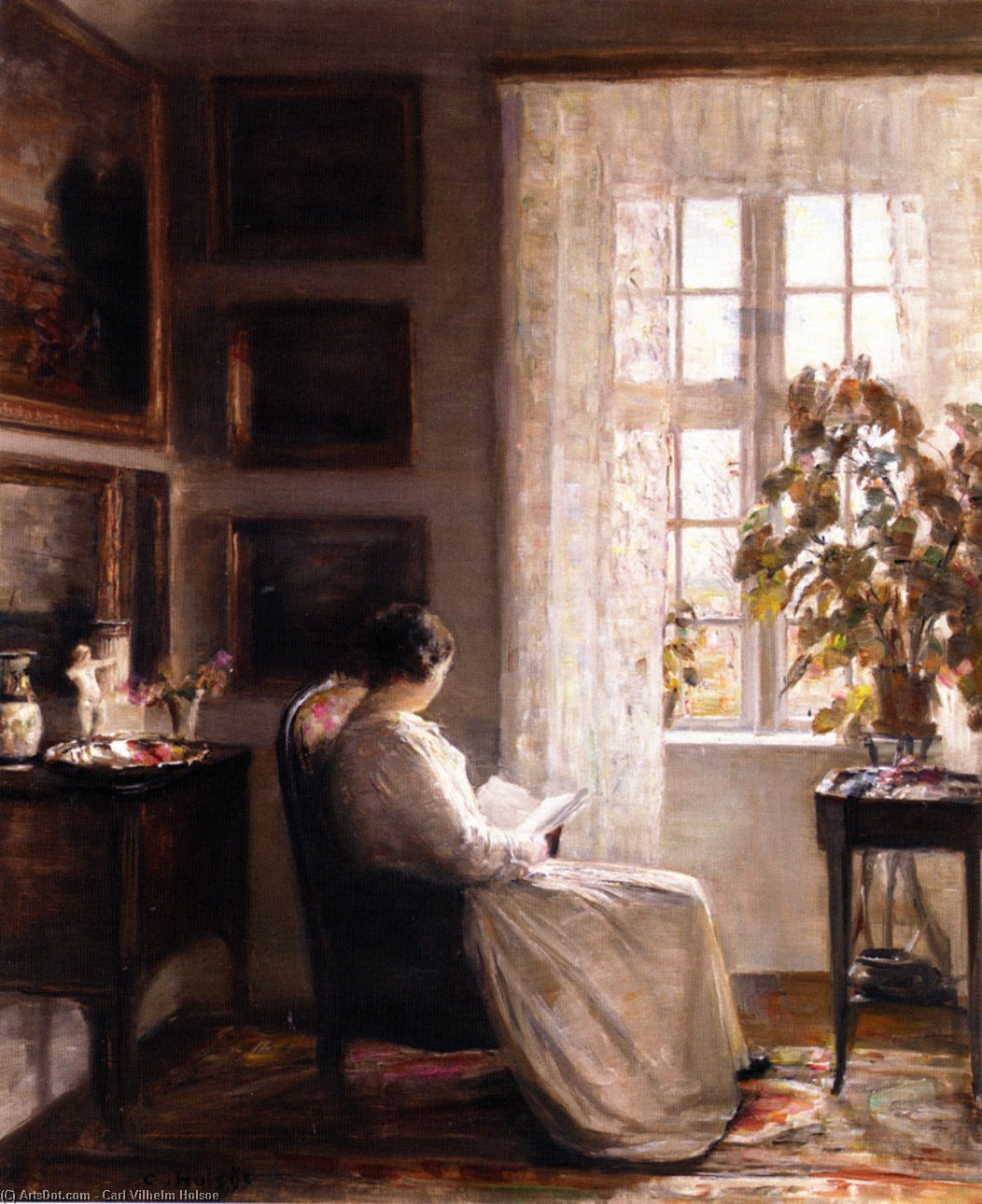Reading In The Morning Light by Carl Vilhelm Holsoe (1863-1935, Denmark)
