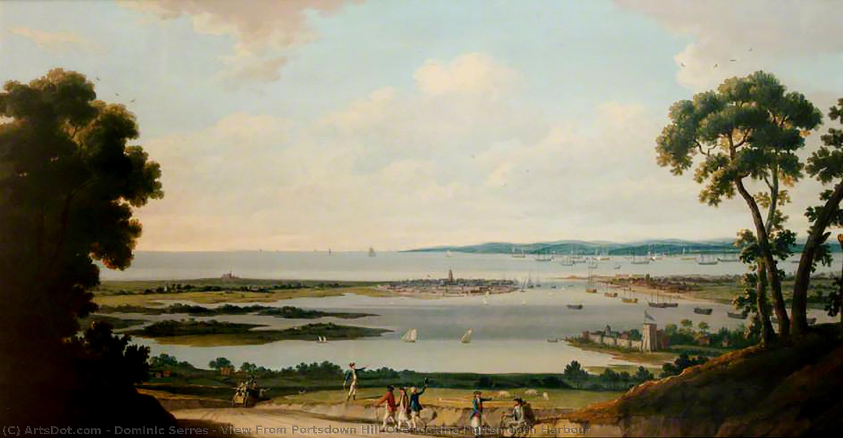 View From Portsdown Hill Overlooking Portsmouth Harbour by Dominic Serres (1722-1793, France) | Museum Quality Copies Dominic Serres | ArtsDot.com