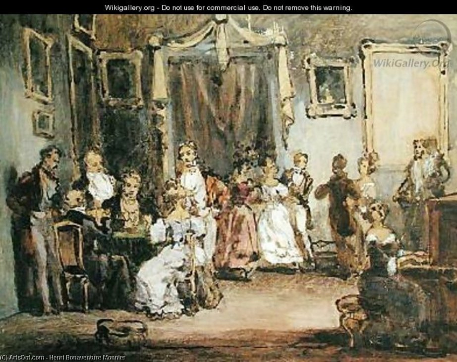 An Evening At The House Of Madame X by Henri Bonaventure Monnier (1799-1877, France)