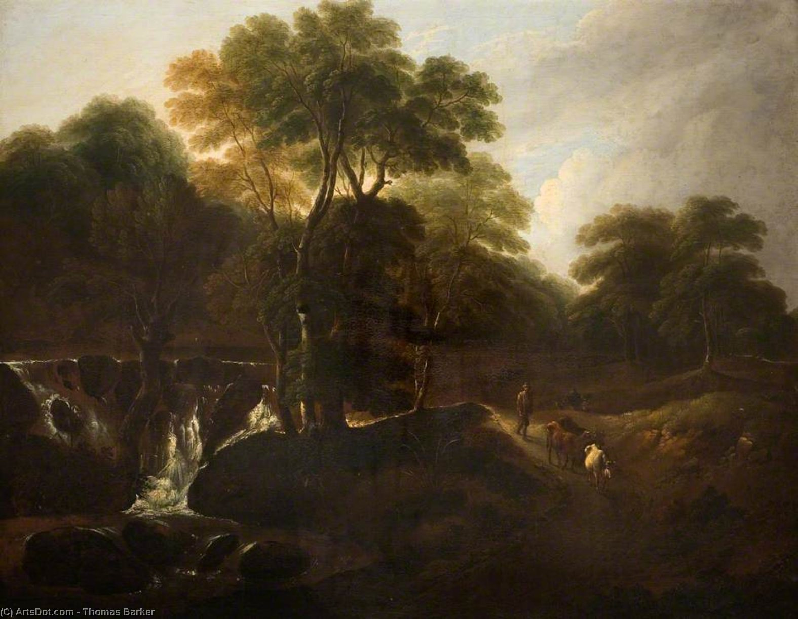 Landscape With A Waterfall by Thomas Barker (1769-1847, United States)