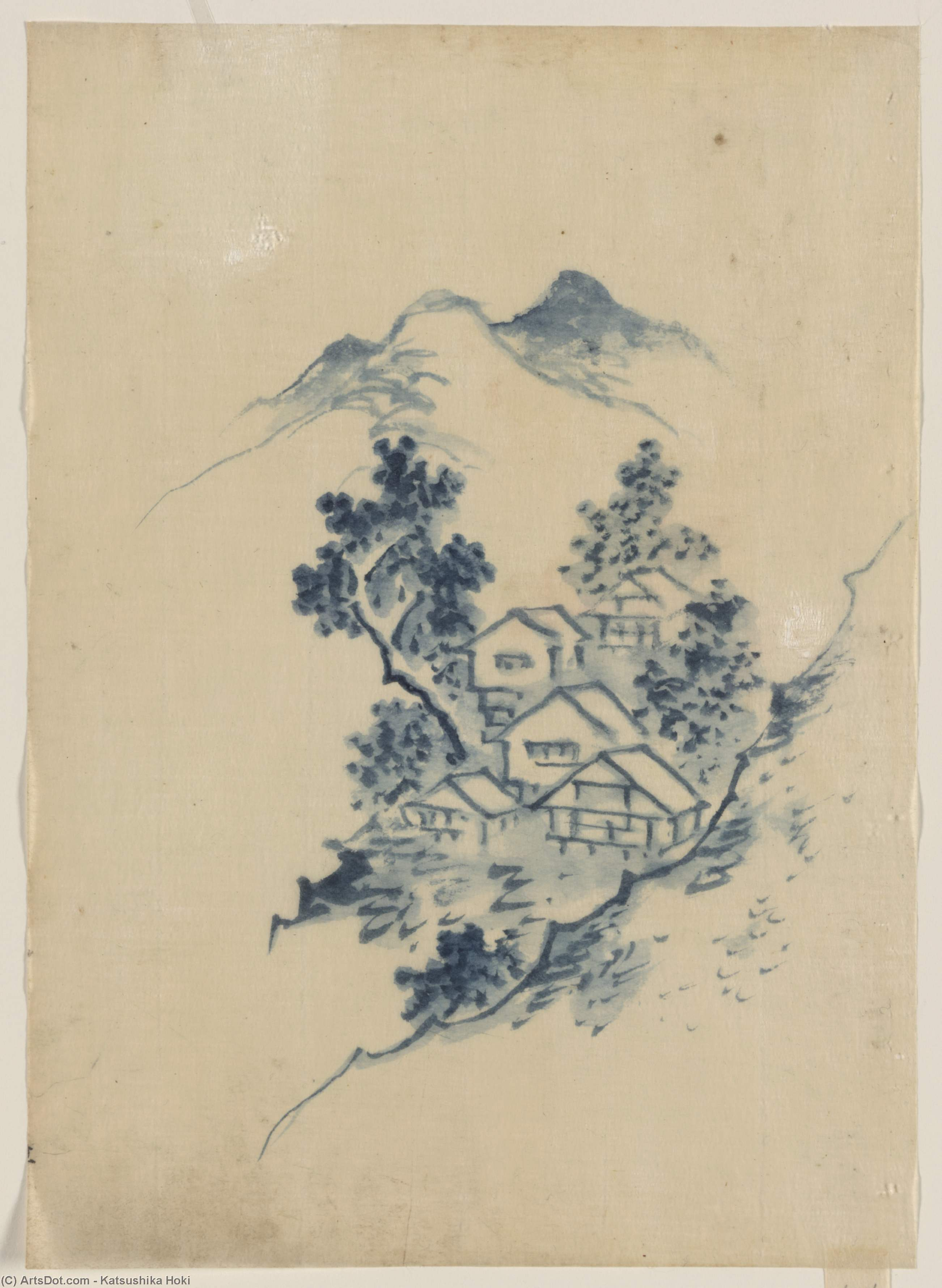 Order Museum Quality Reproductions : Buildings Nestled Among Trees In A Mountain Valley by Katsushika Hokusai (1760-1849, Japan) | ArtsDot.com