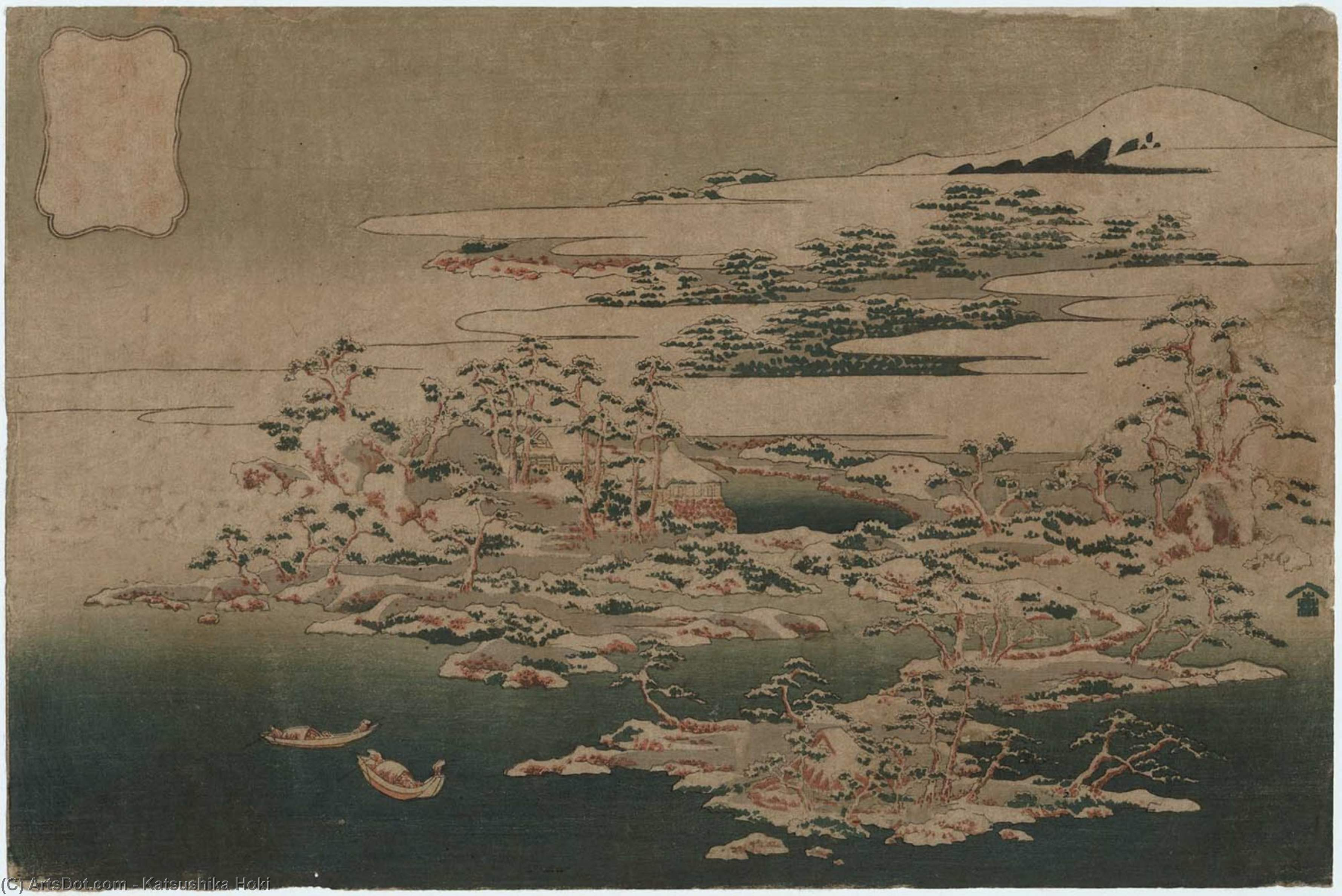 Pines And Waves At The Dragon Cavern by Katsushika Hokusai (1760-1849, Japan) | Museum Quality Reproductions | ArtsDot.com