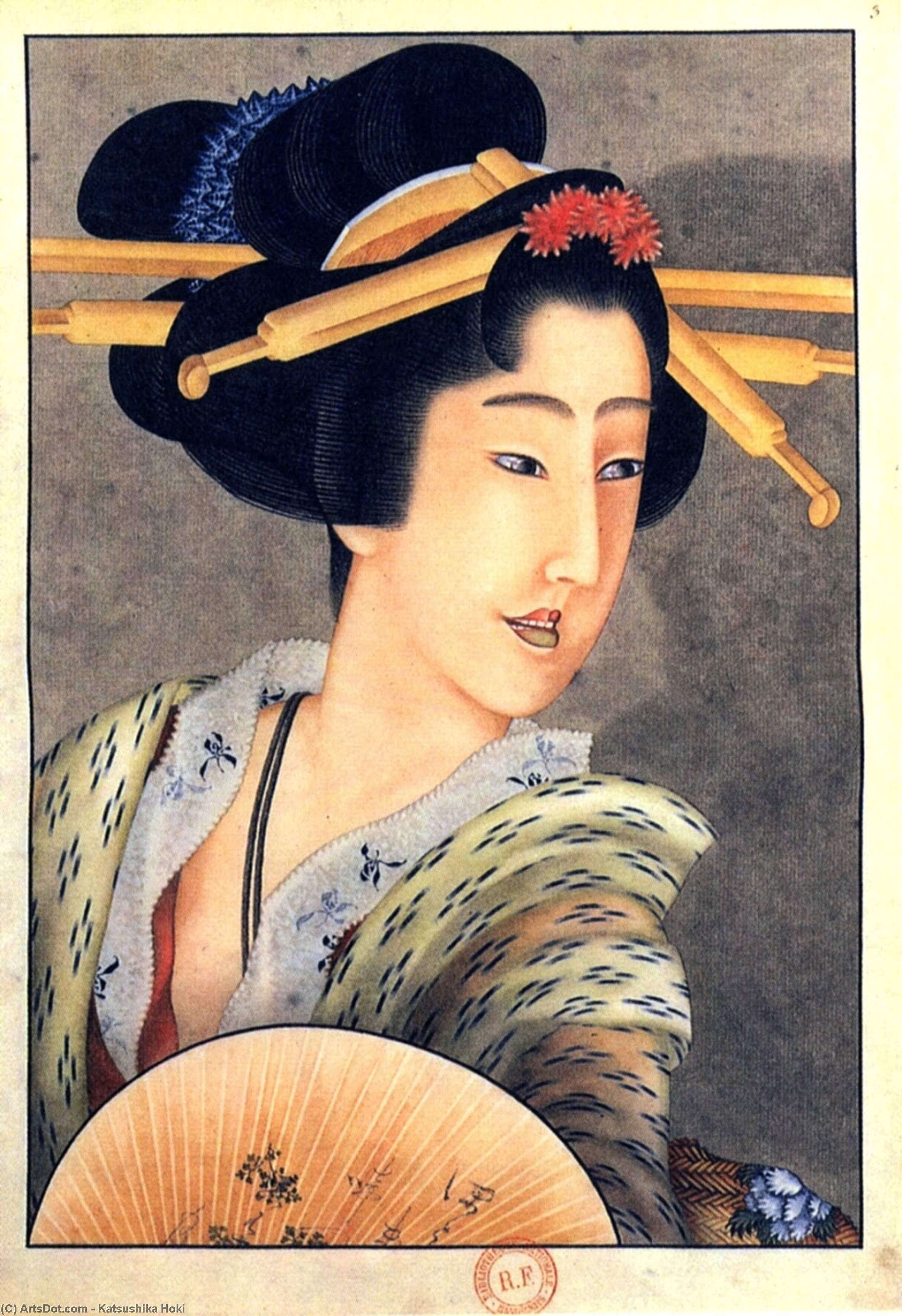 Portrait Of A Woman Holding A Fan by Katsushika Hokusai (1760-1849, Japan) | ArtsDot.com