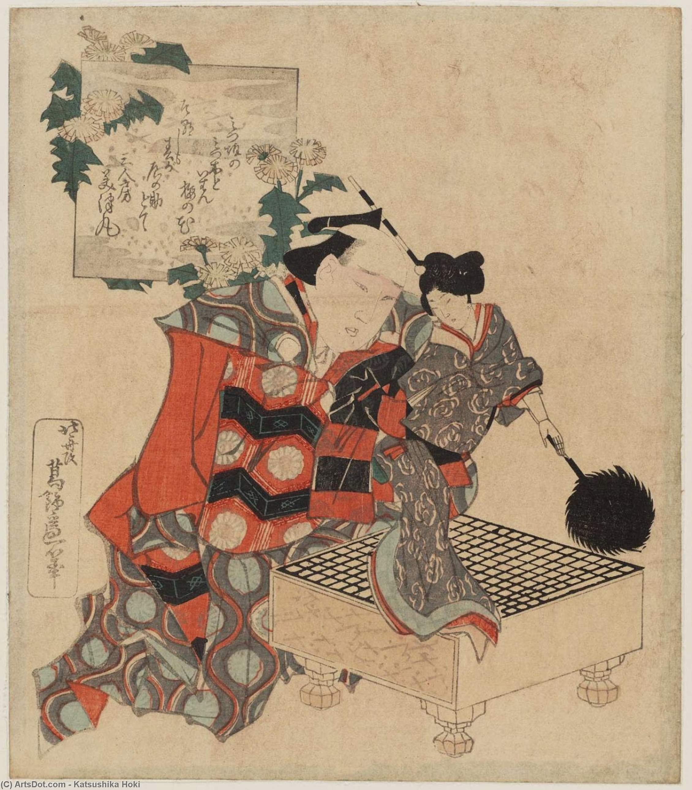 Puppeteer With Puppet Of A Female Feathered-lance Bearer by Katsushika Hokusai (1760-1849, Japan) | Museum Quality Reproductions | ArtsDot.com