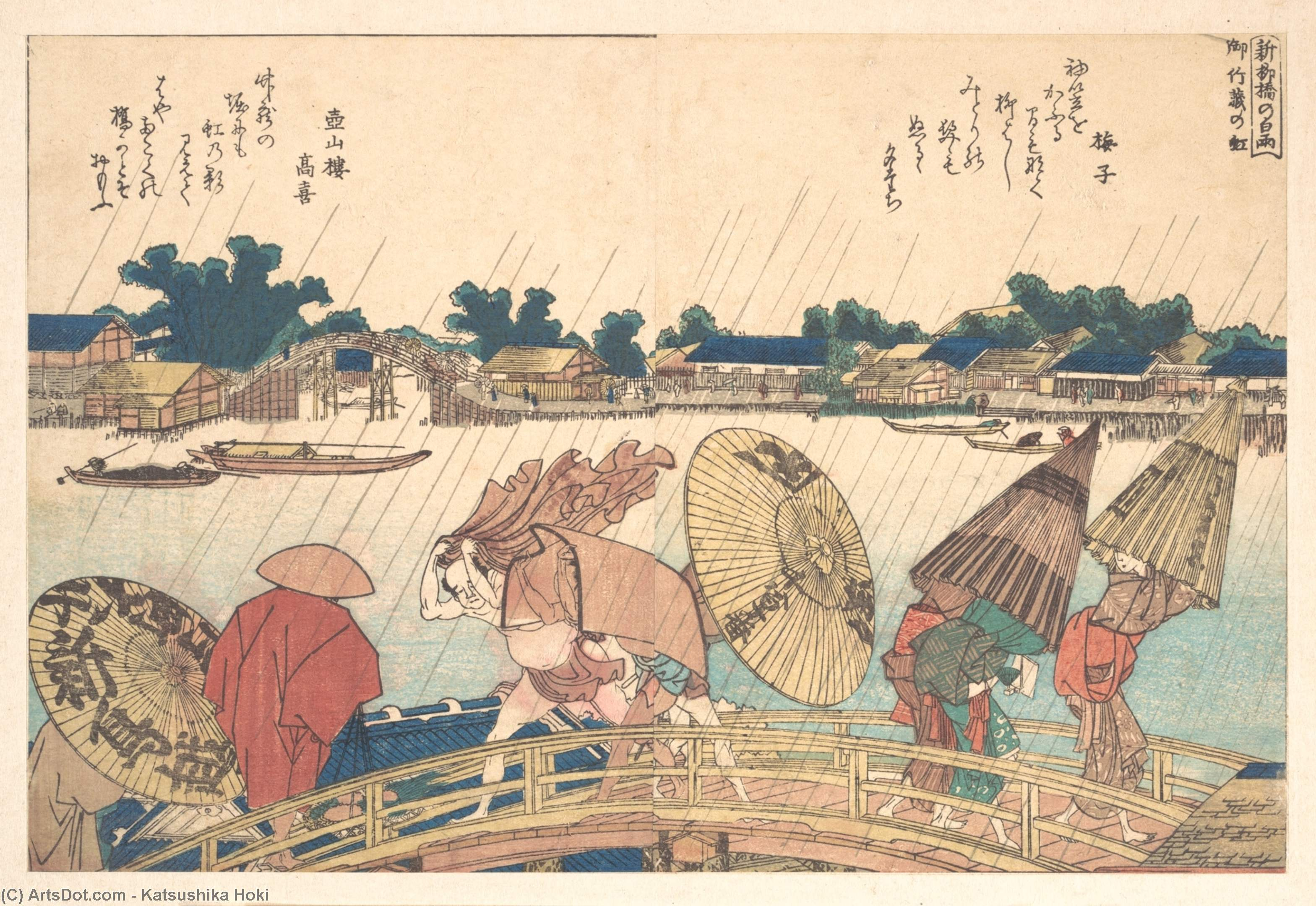 Shower At The New Yanagi Bridge by Katsushika Hokusai (1760-1849, Japan) | Oil Painting | ArtsDot.com