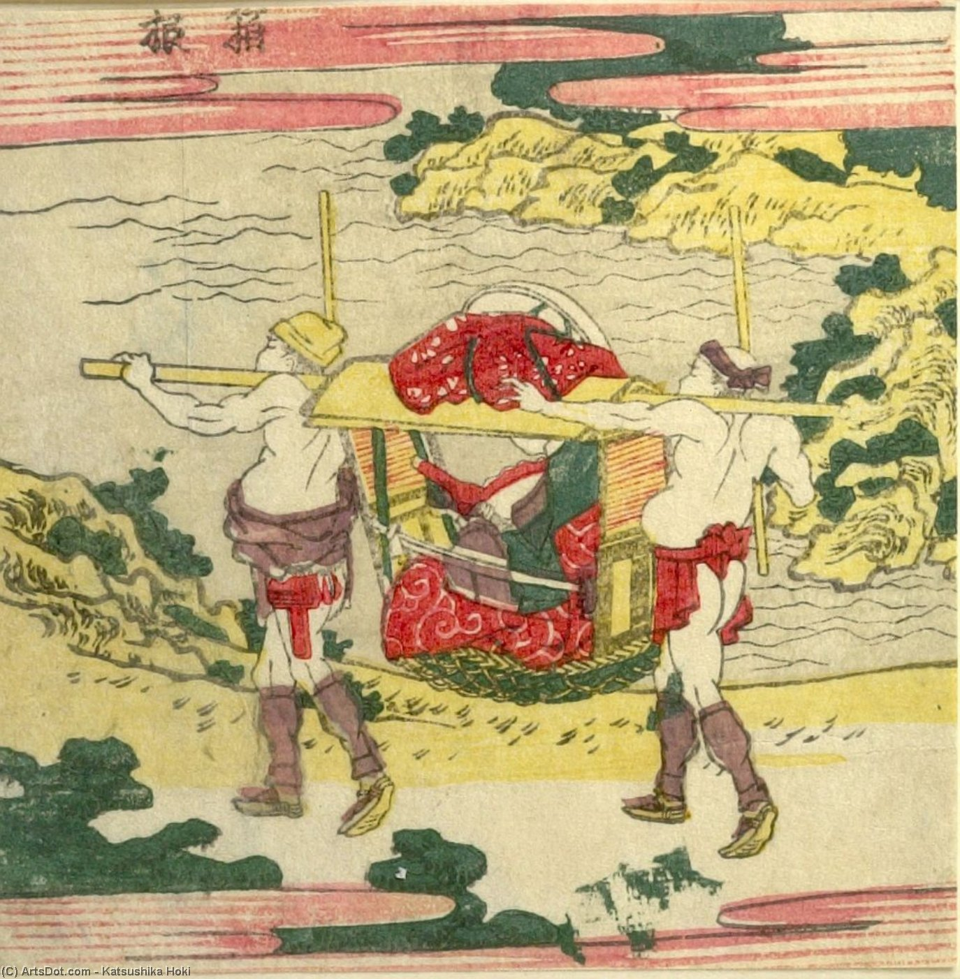 Traveler In A Palanquin by Katsushika Hokusai (1760-1849, Japan)