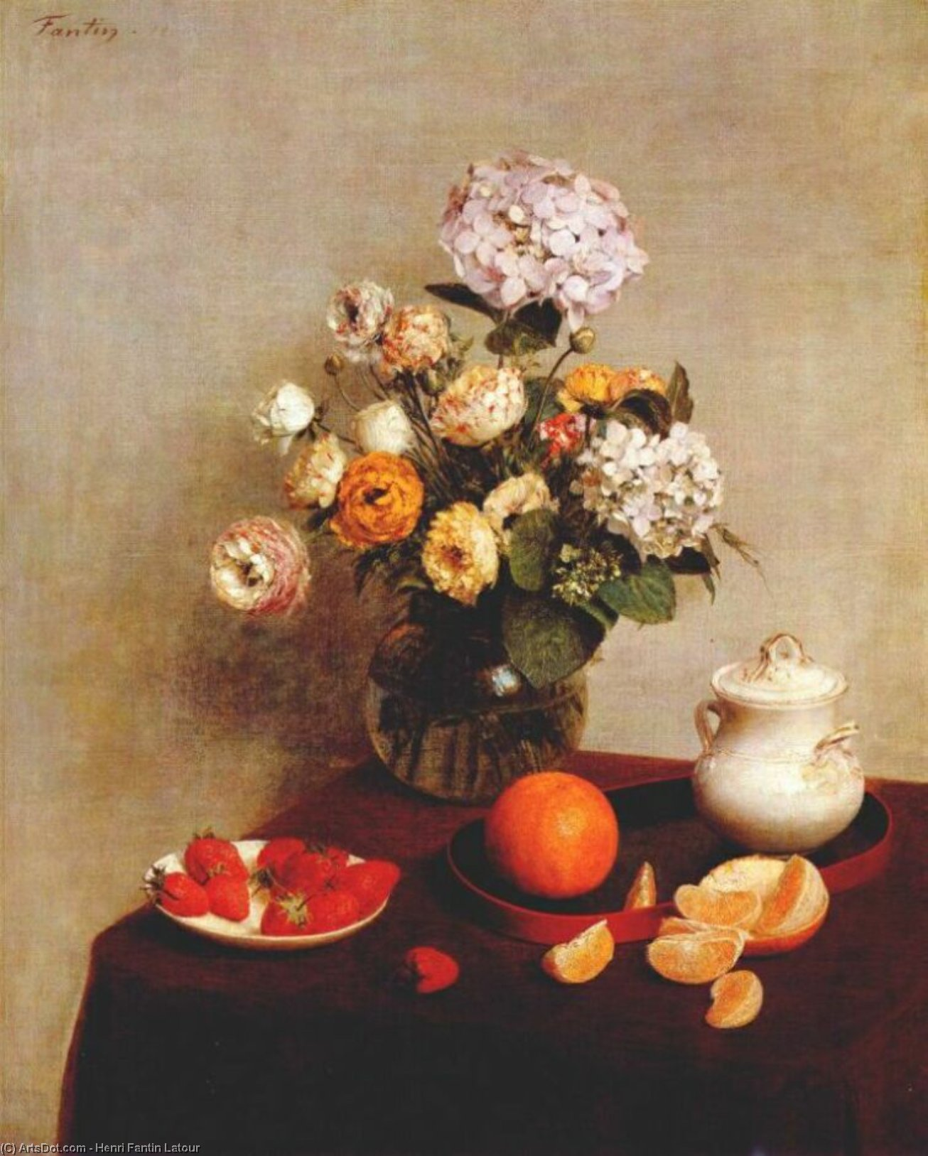 still life - vase of hydrangeas and ranunculus, 1866 by Henri Fantin Latour (1836-1904, France)
