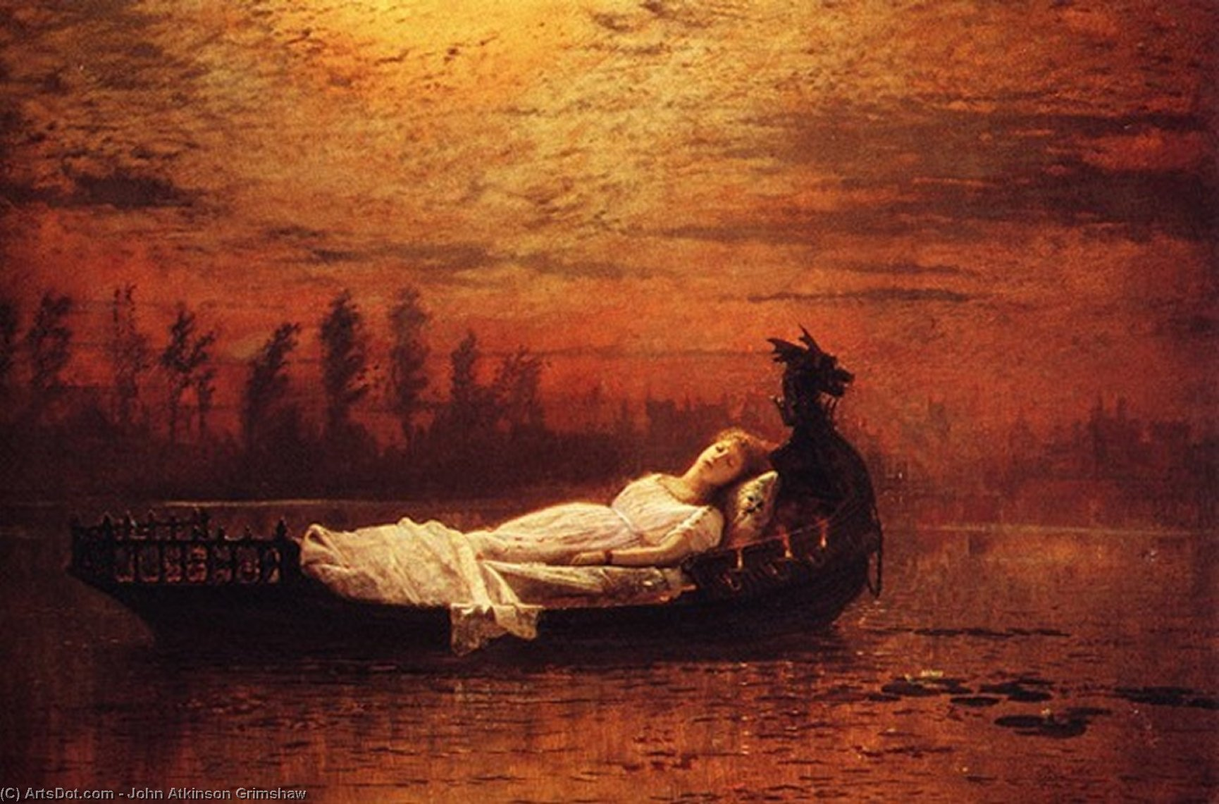 elaine by John Atkinson Grimshaw (1836-1893, United Kingdom) | Oil Painting | ArtsDot.com