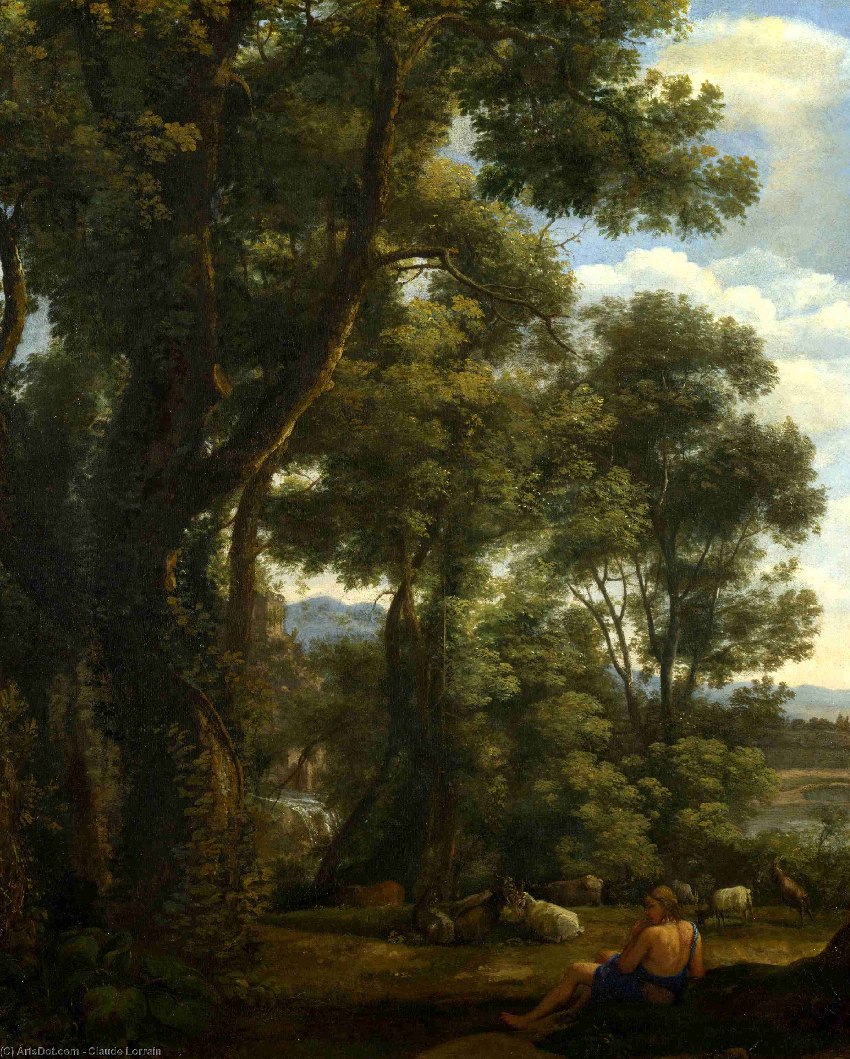Landscape with a Goatherd and Goats by Claude Lorrain (Claude Gellée)