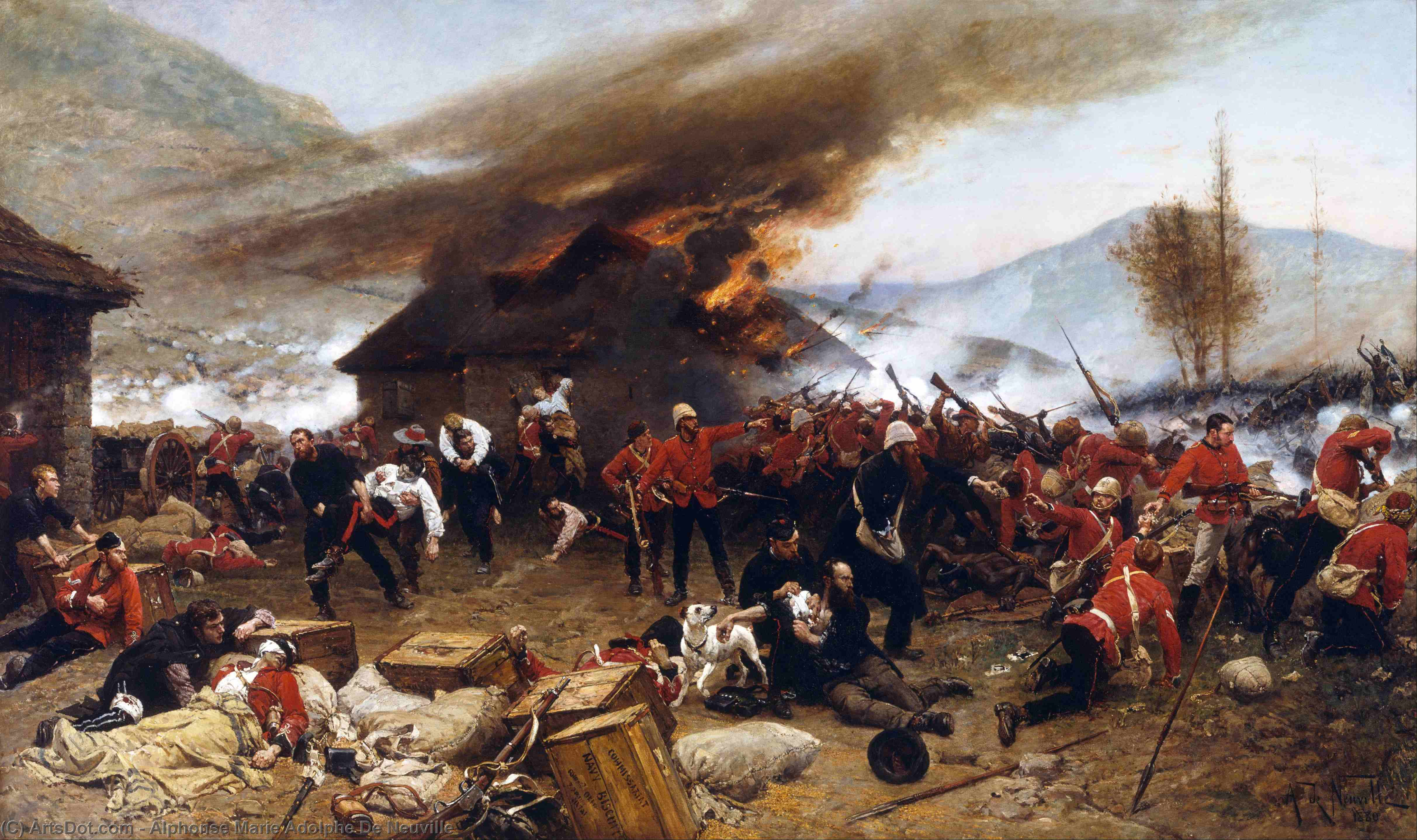 The defence of rorkes drift, Canvas, Oil, Oil On Canvas by Alphonse Marie Adolphe De Neuville (1835-1885, France)