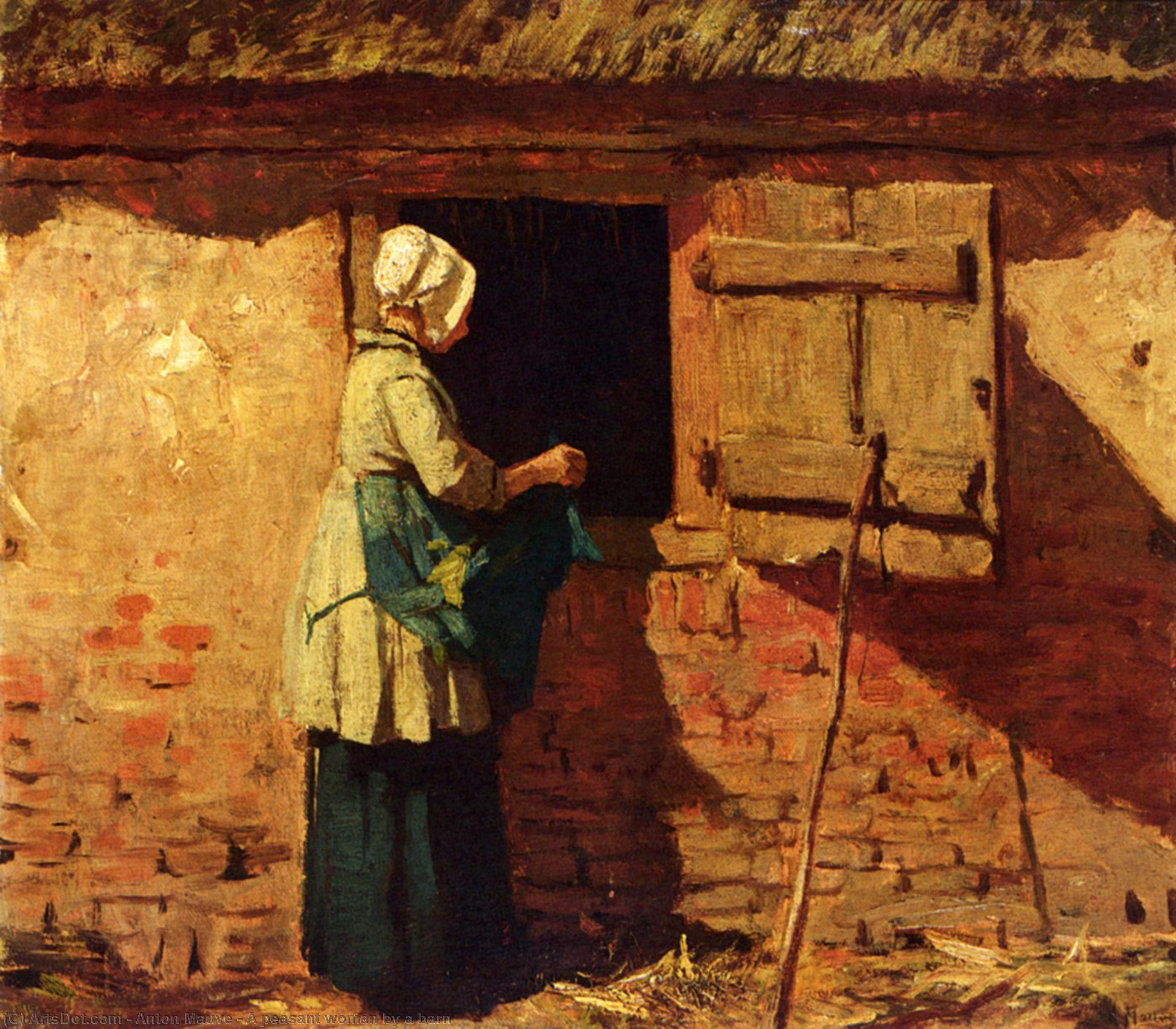 A peasant woman by a barn by Anton Mauve (1838-1888, Netherlands) | Oil Painting | ArtsDot.com