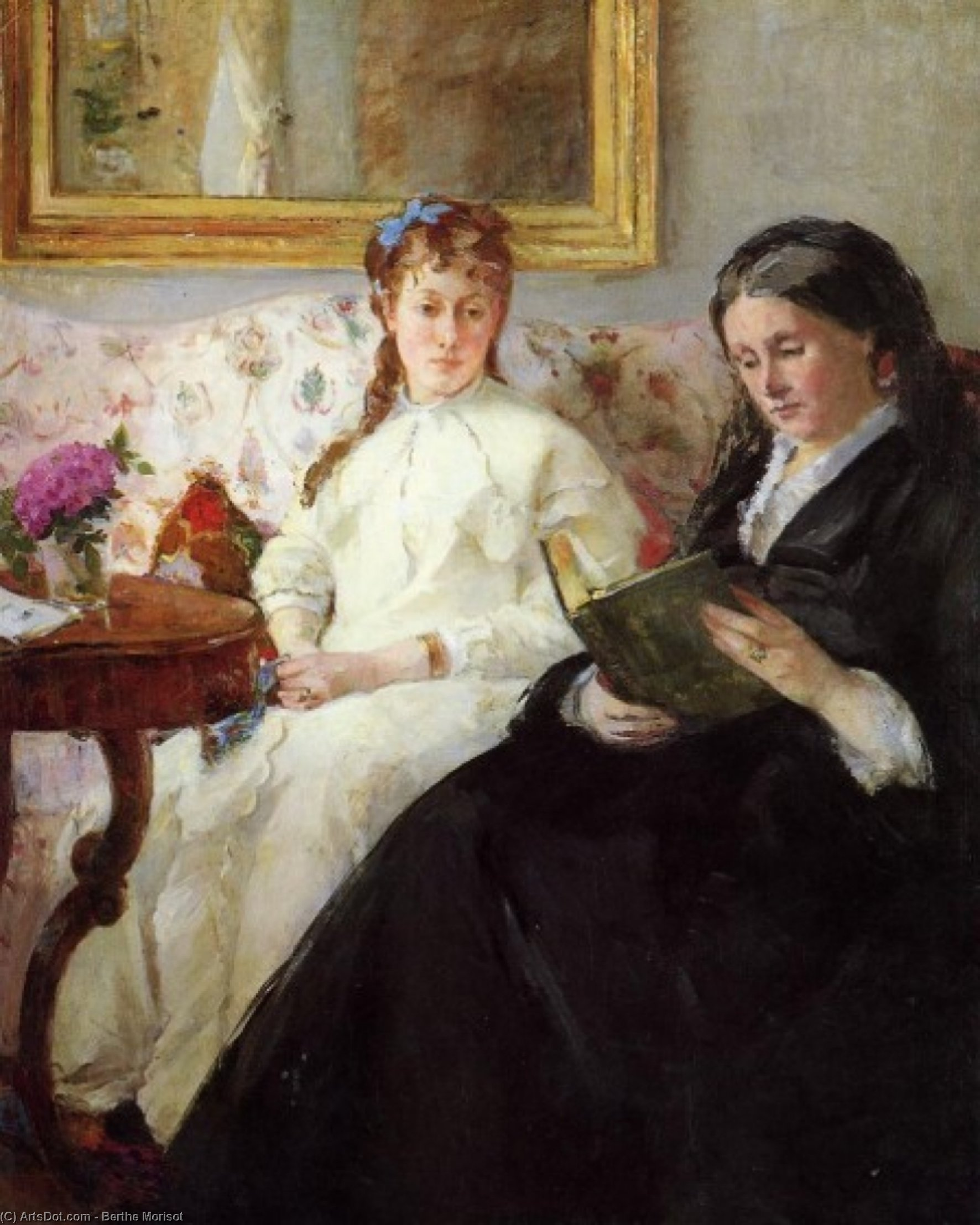 Order Reproductions | The Mother and Sister of the Artist The Lecture by Berthe Morisot (1841-1895, France) | ArtsDot.com