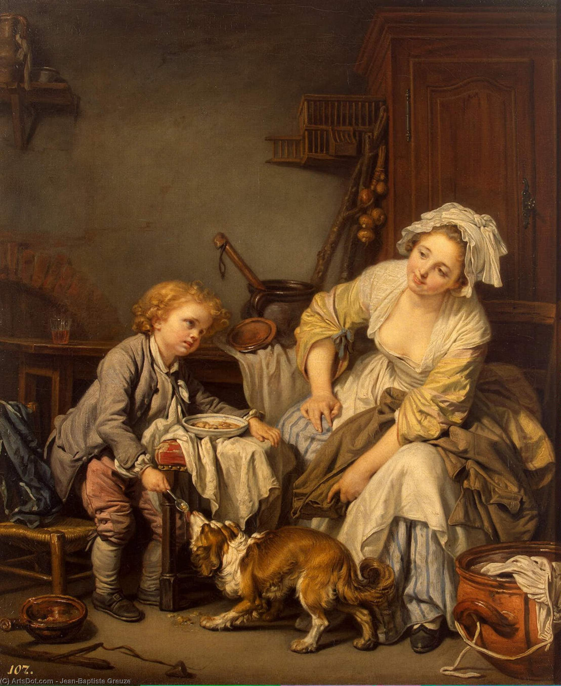 The Spoiled Child by Jean-Baptiste Greuze (1725-1805, France) | Art Reproduction | ArtsDot.com
