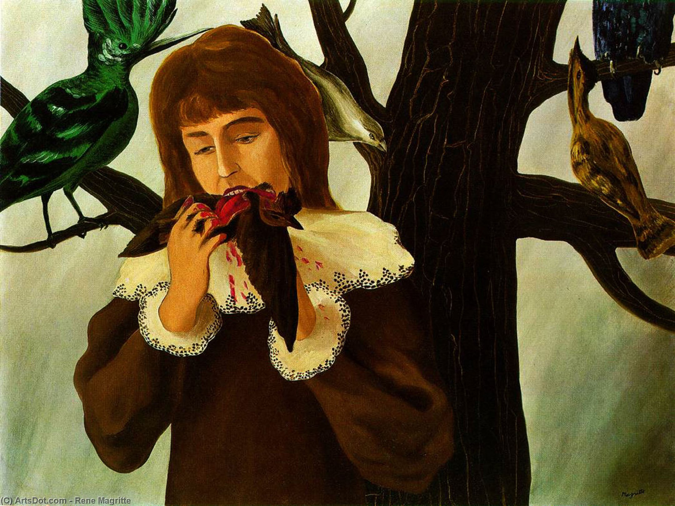 Young girl eating a bird, 1927 by Rene Magritte (1898-1967, Belgium) | ArtsDot.com