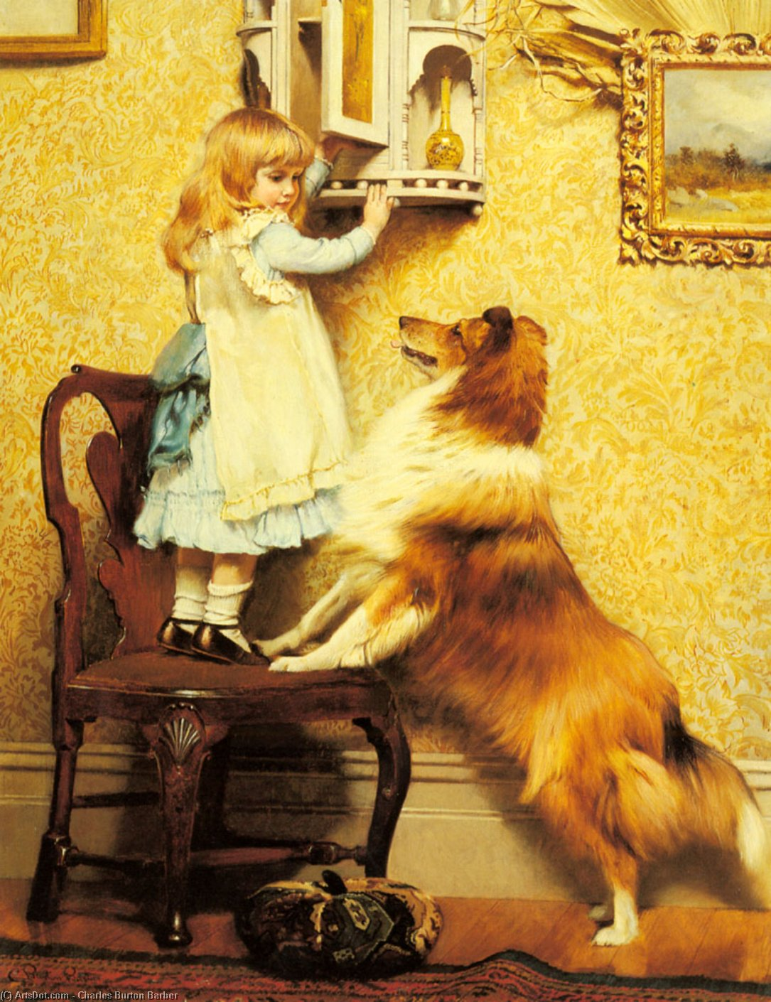 A Little Girl and her Sheltie by Charles Burton Barber (1845-1894, United Kingdom)