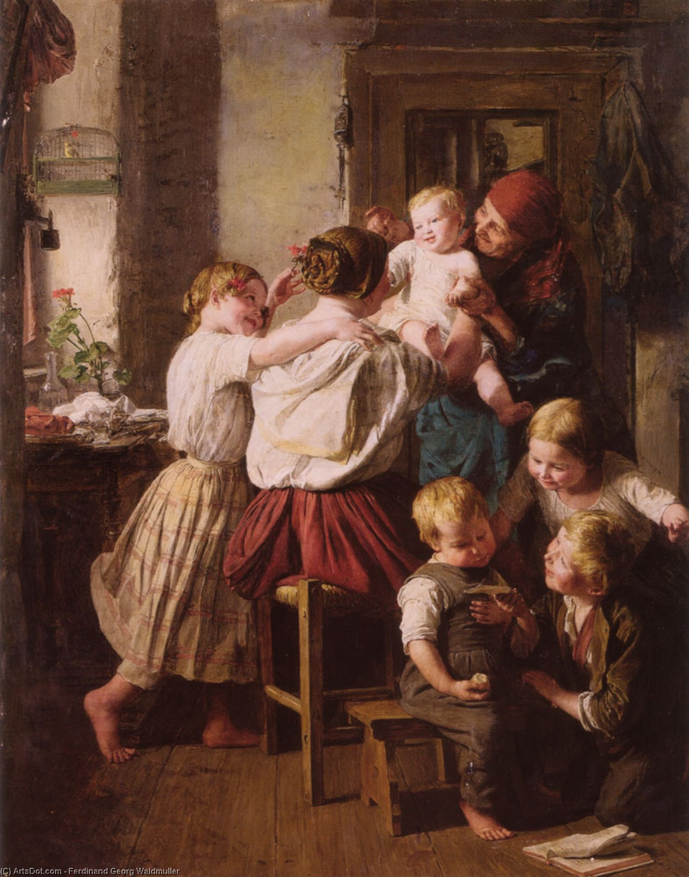 Order Museum Quality Reproductions : Children Making Their Grandmother a Present on Her Name Day by Ferdinand Georg Waldmuller (1793-1865, Austria) | ArtsDot.com