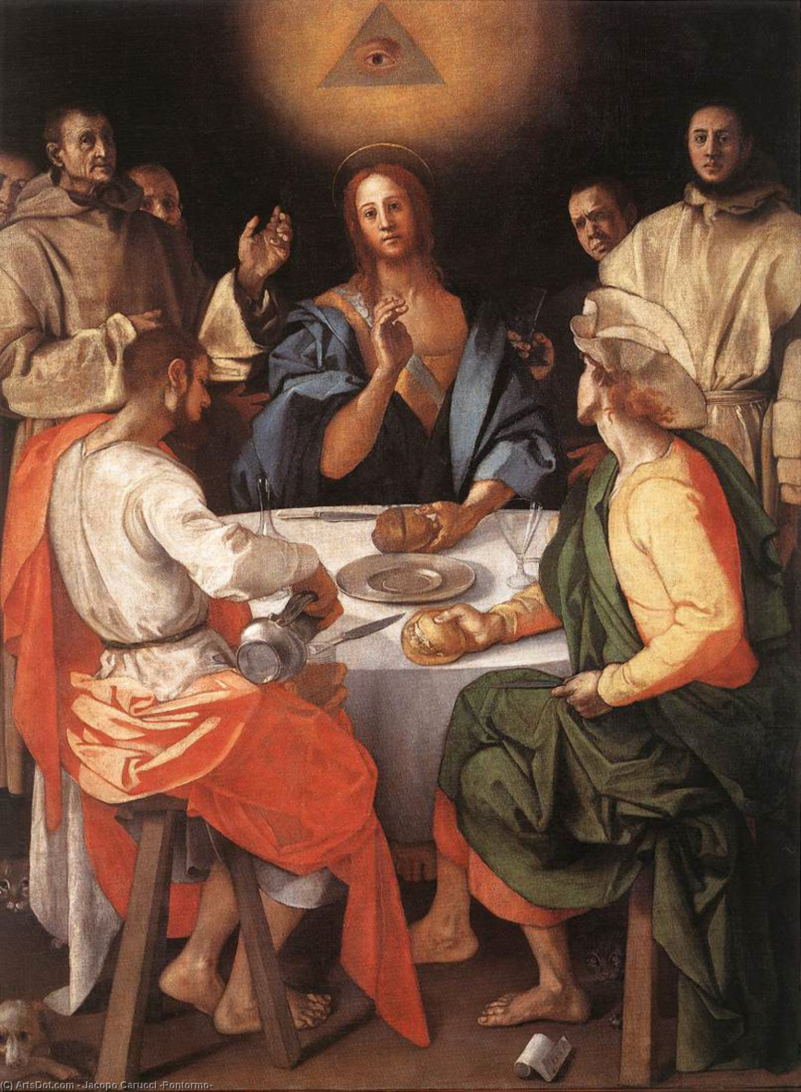 Supper at Emmaus, 1520 by Jacopo Carucci (Pontormo) (1494-1557, Italy) | Reproductions Jacopo Carucci (Pontormo) | ArtsDot.com